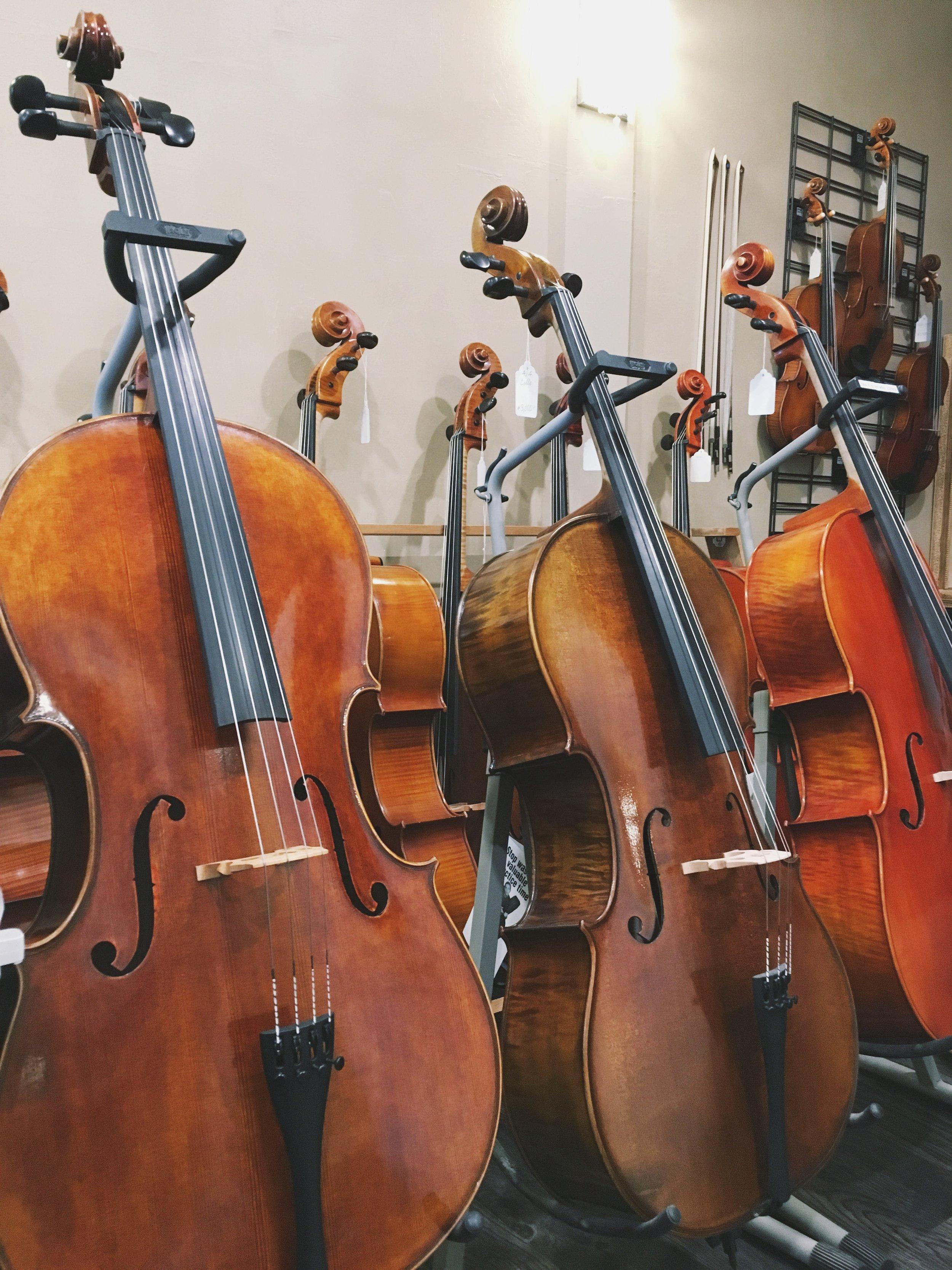 Cellos in the Violin Shop of Old Carmel. Carmel, Indiana.