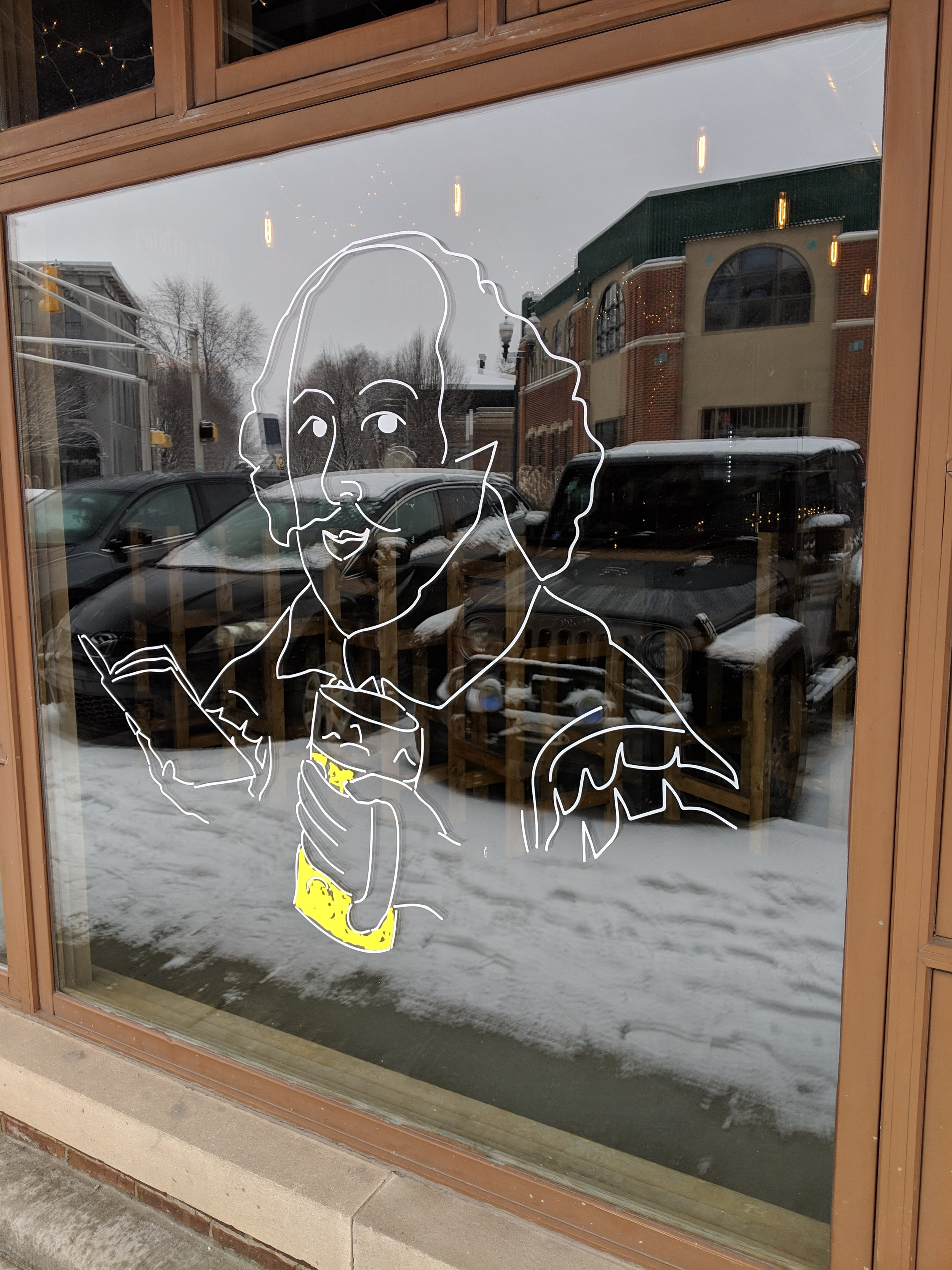 I loved this window art at Books and Brews.