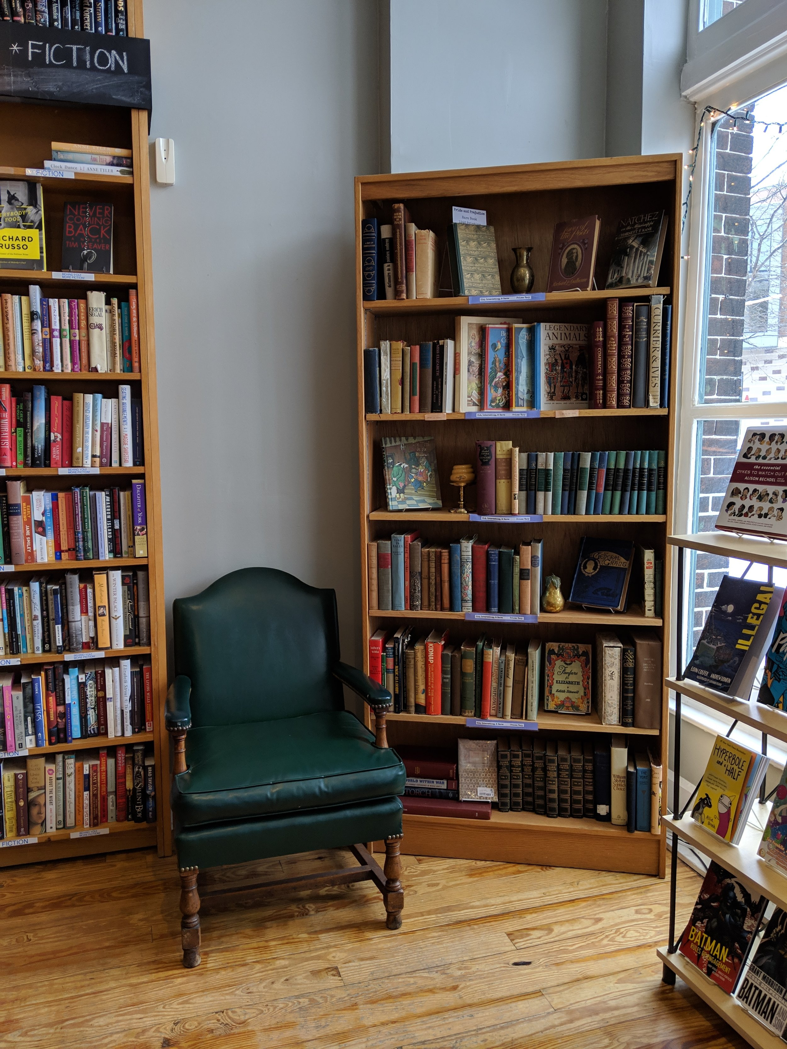 A vintage corner in Indy Reads Books on Mass Ave.