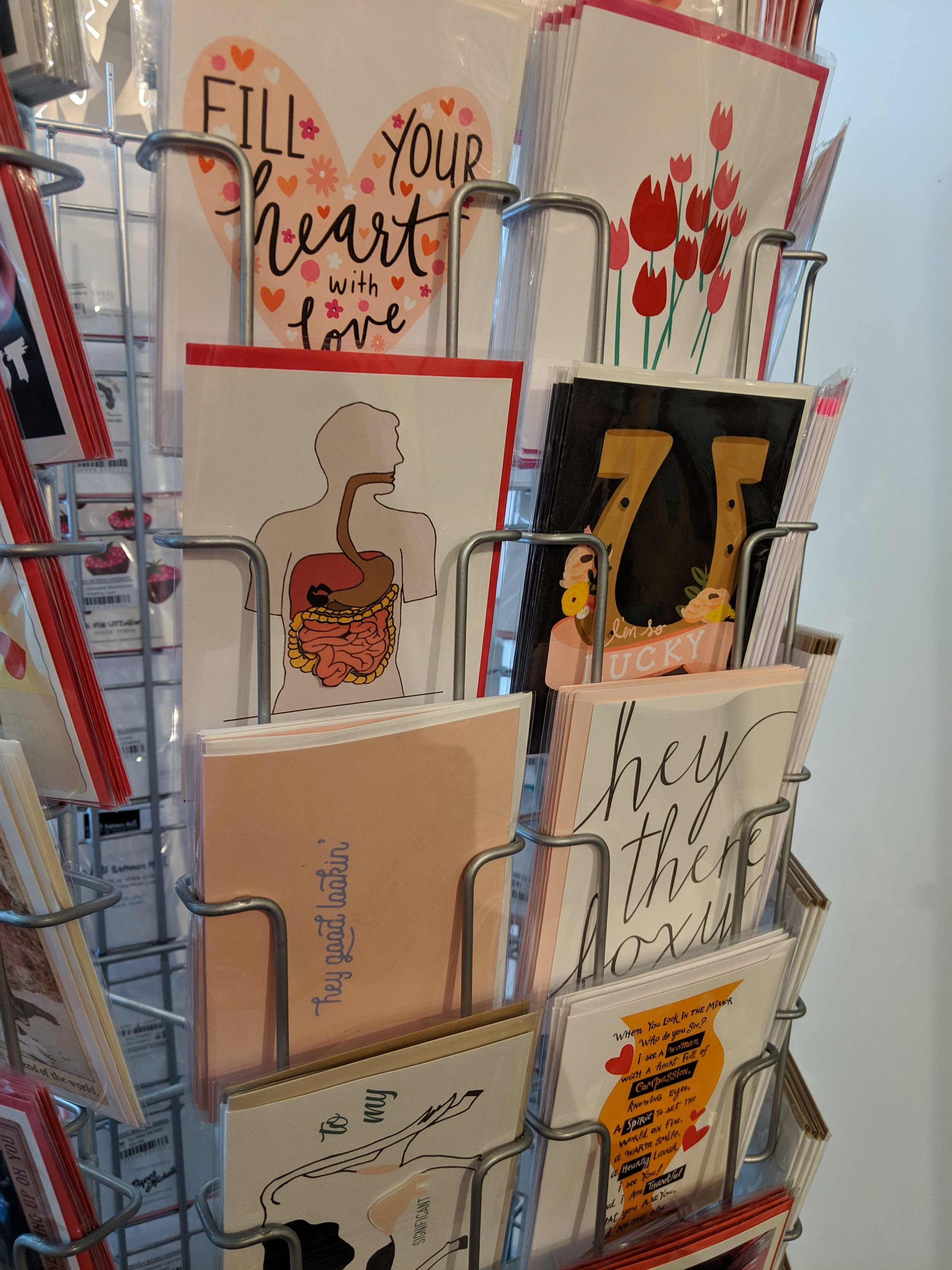 Valentine's Day cards at Homespun: Modern Handmade on Mass Ave in Indianapolis.