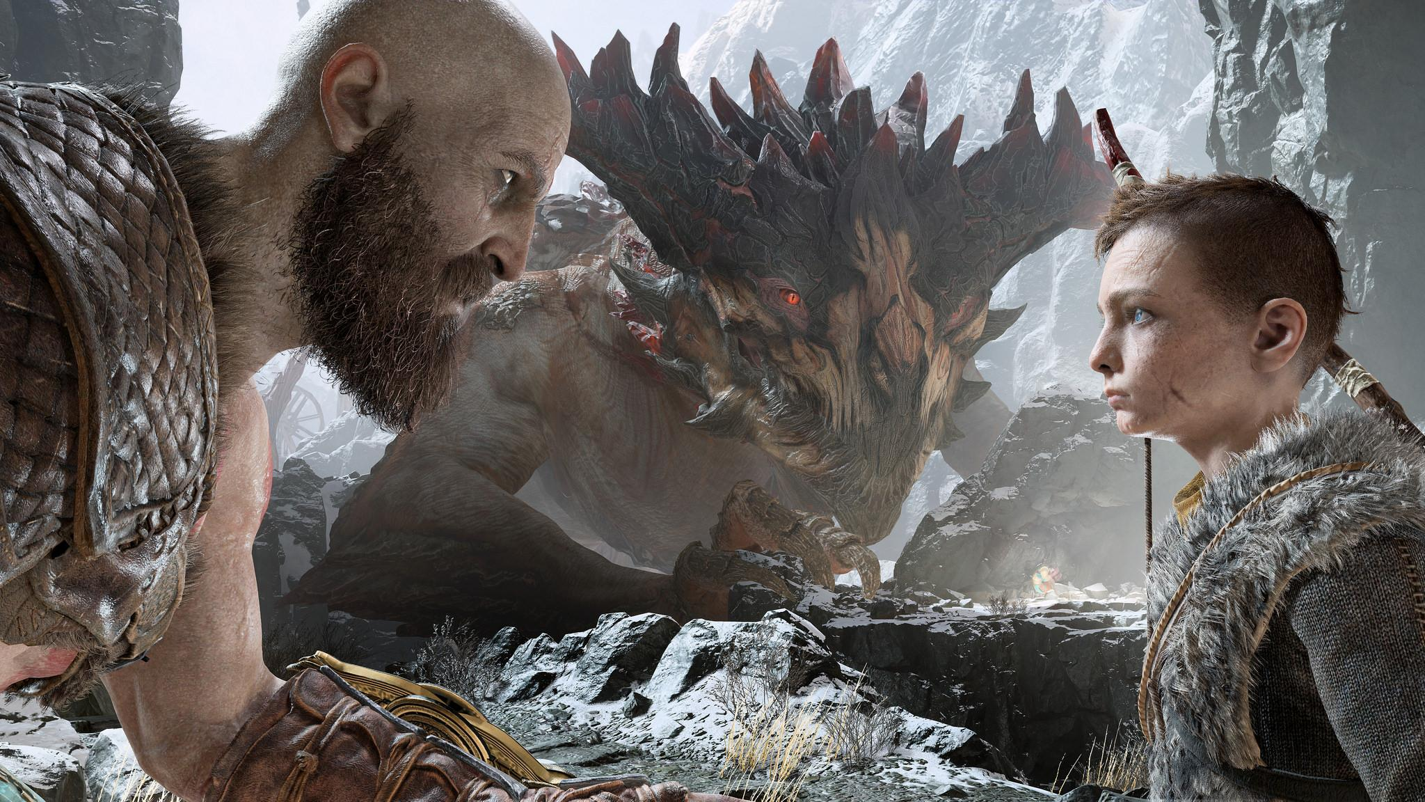 Kratos and his son Atreus prepare to do battle with a formidable enemy.  Image Source