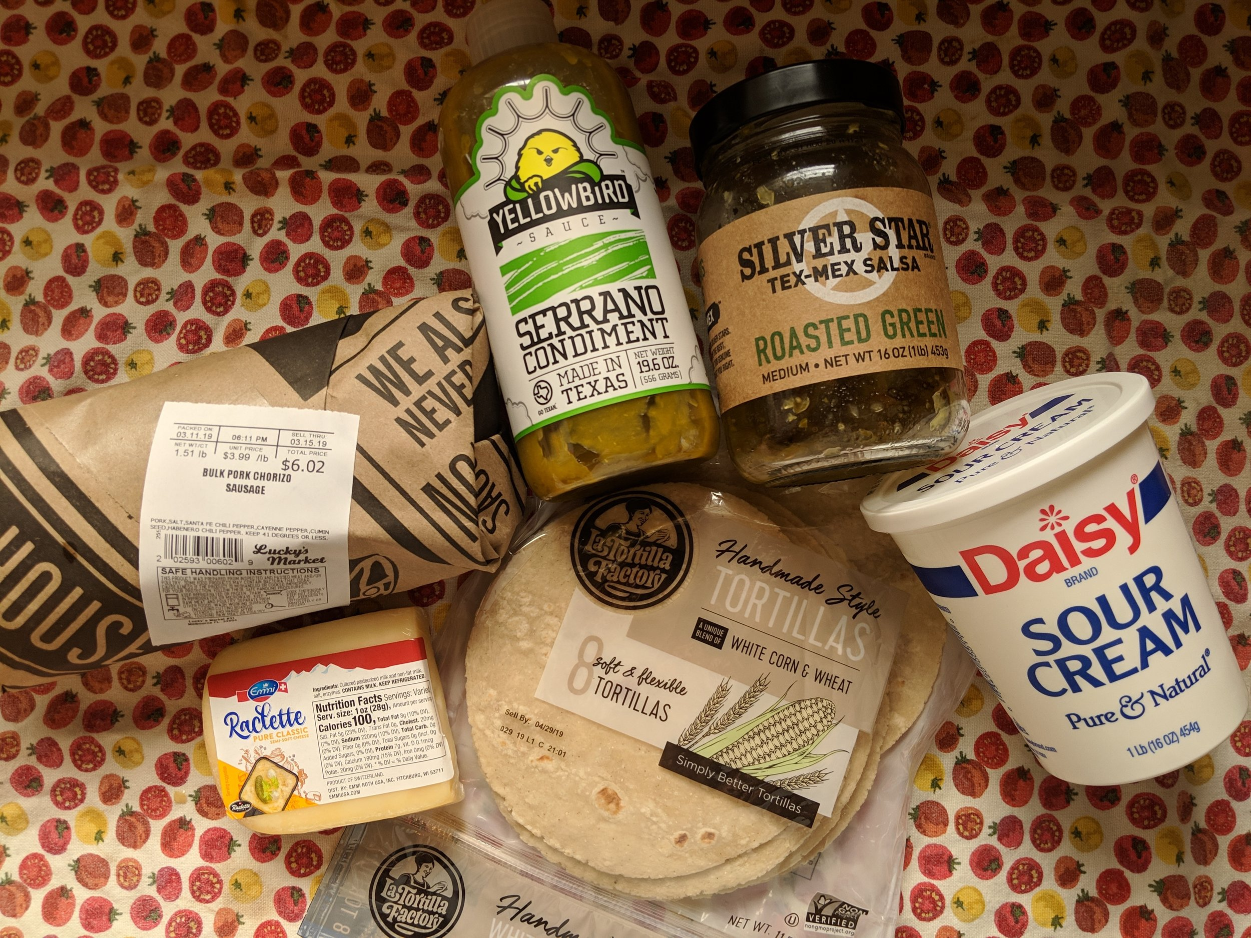 Our taco ingredients from Lucky's Market—my favorite grocery store in Bloomington.
