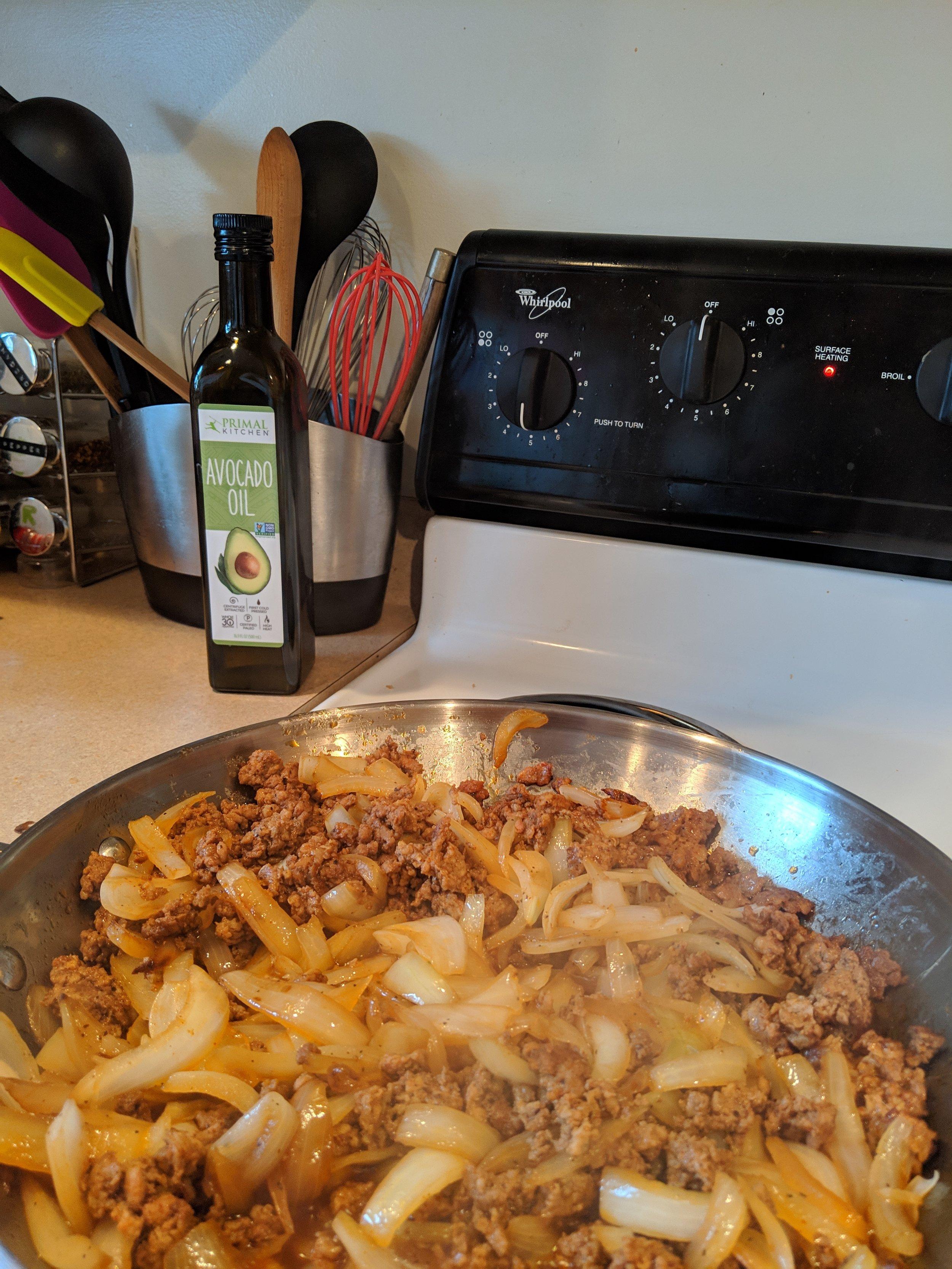 The chorizo and onion mix. Yum.