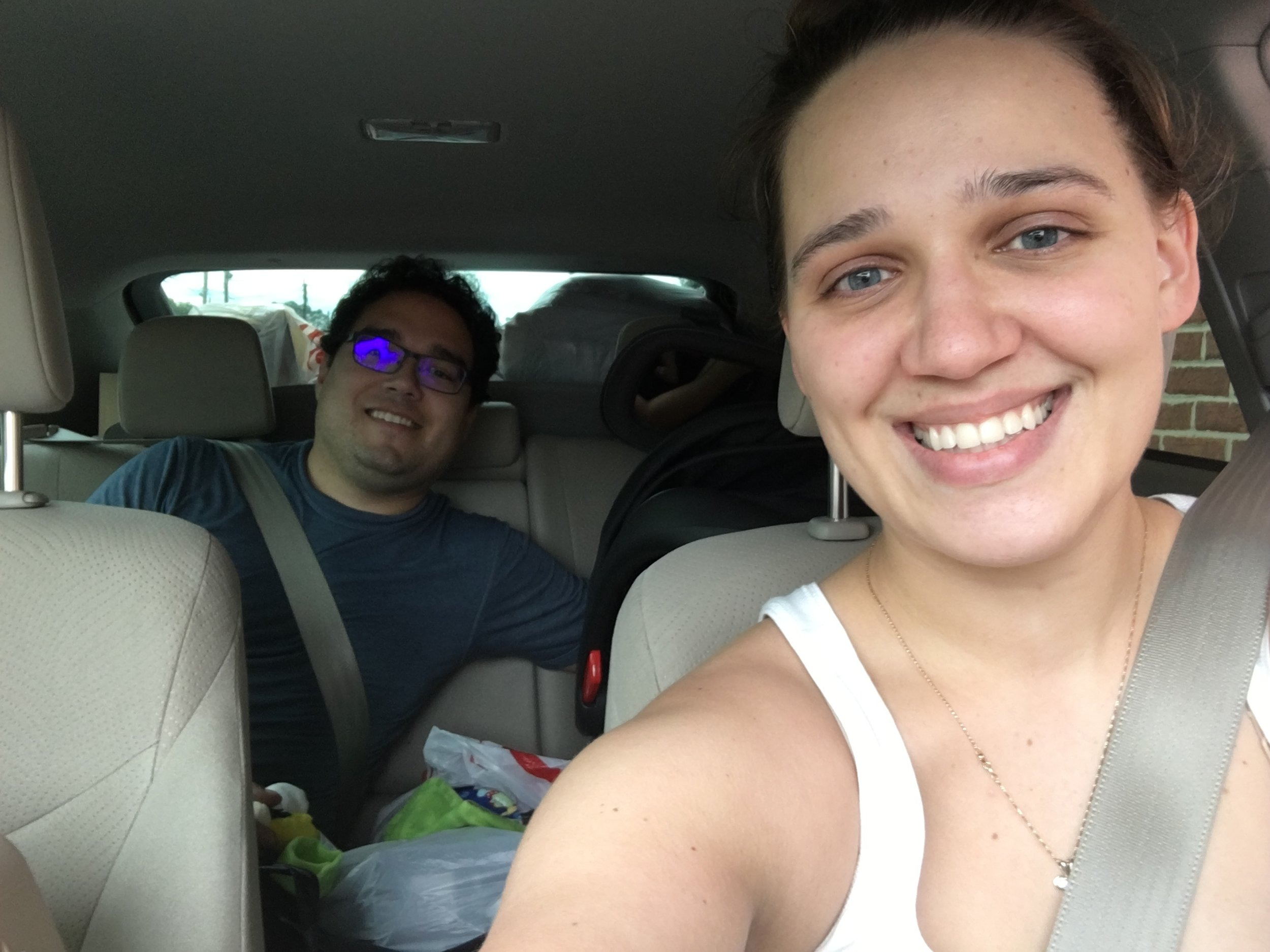 In the car as we left the American South for good in August 2017.