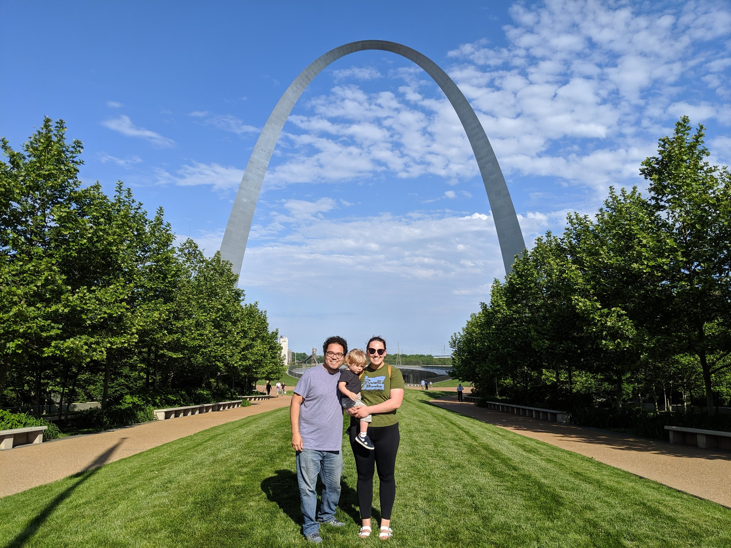 A stranger was kind enough to offer to take a photo of the three of us at the Arch.