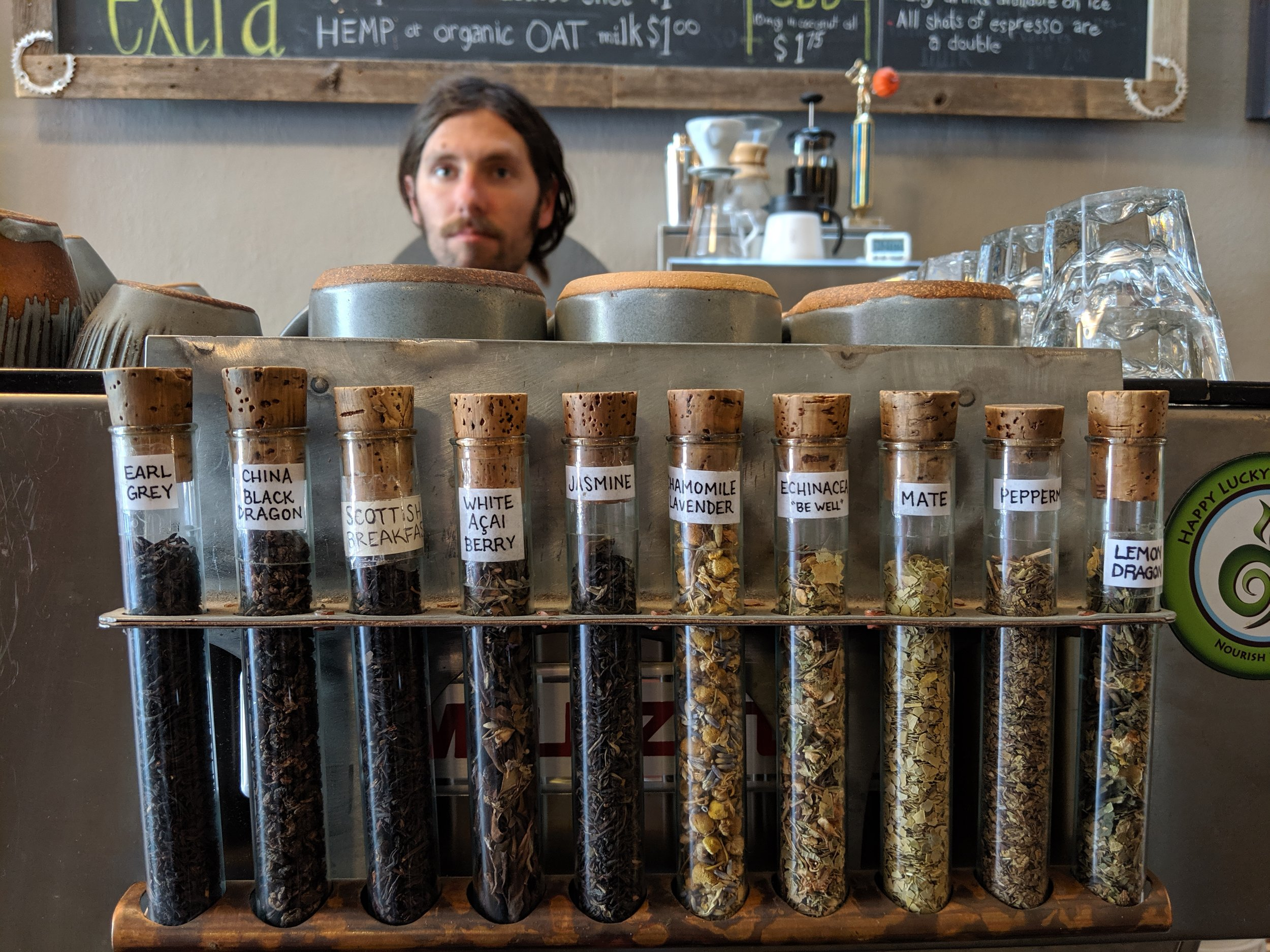 Checking out the teas in The Bean Cycle in Old Town Fort Collins, Colorado.