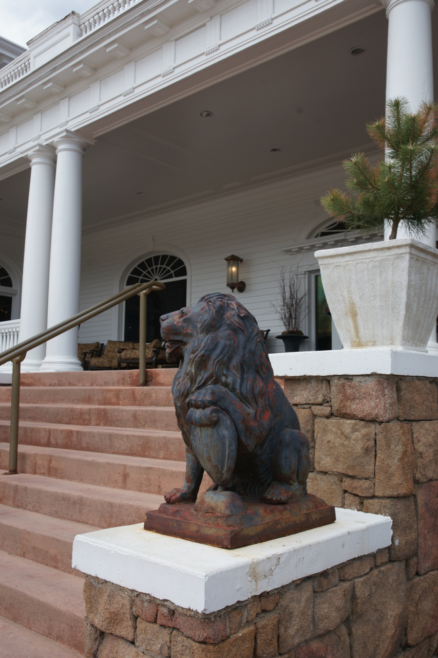 A lion sentinel, The Stanley Hotel, Estes Park, Colorado.