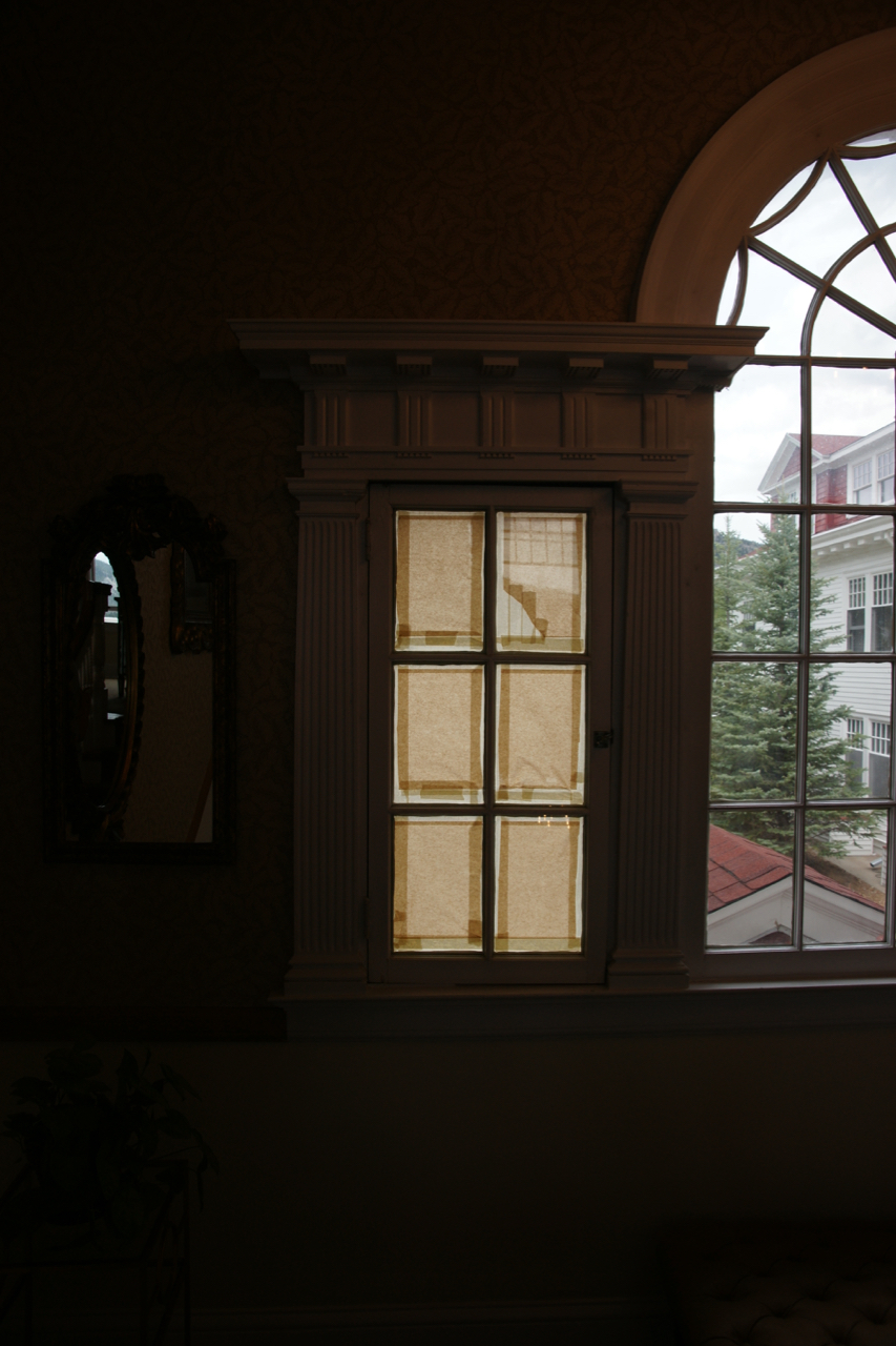 A taped window, The Stanley Hotel, Estes Park, Colorado.