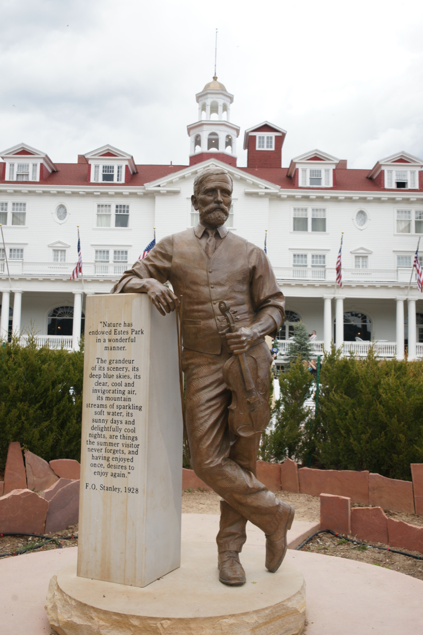 Bronze statue of F.O. Stanley in the hedge maze, The Stanley Hotel, Estes Park, Colorado.