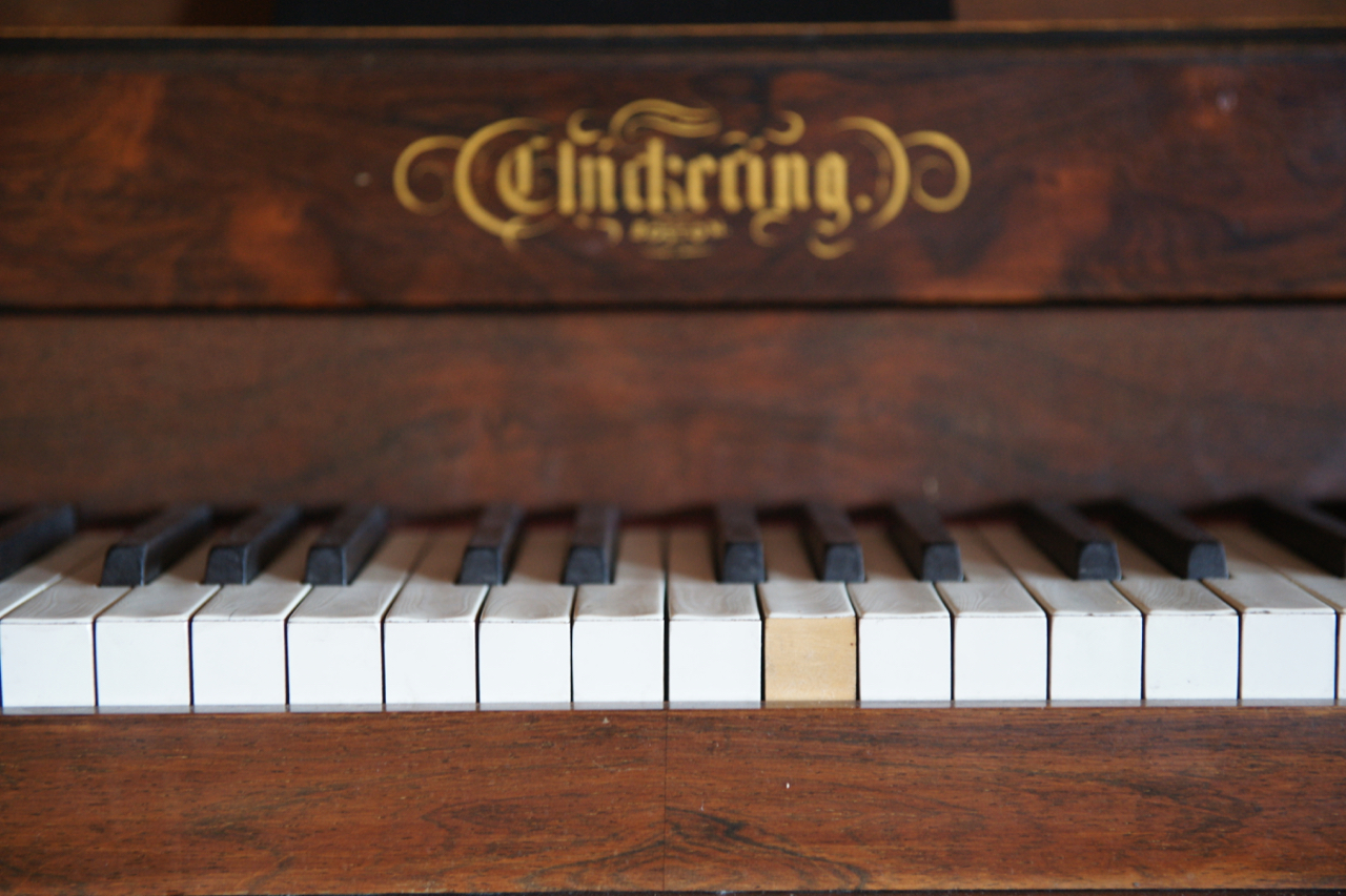 Chickering & Sons antique piano, The Stanley Hotel, Estes Park, Colorado.