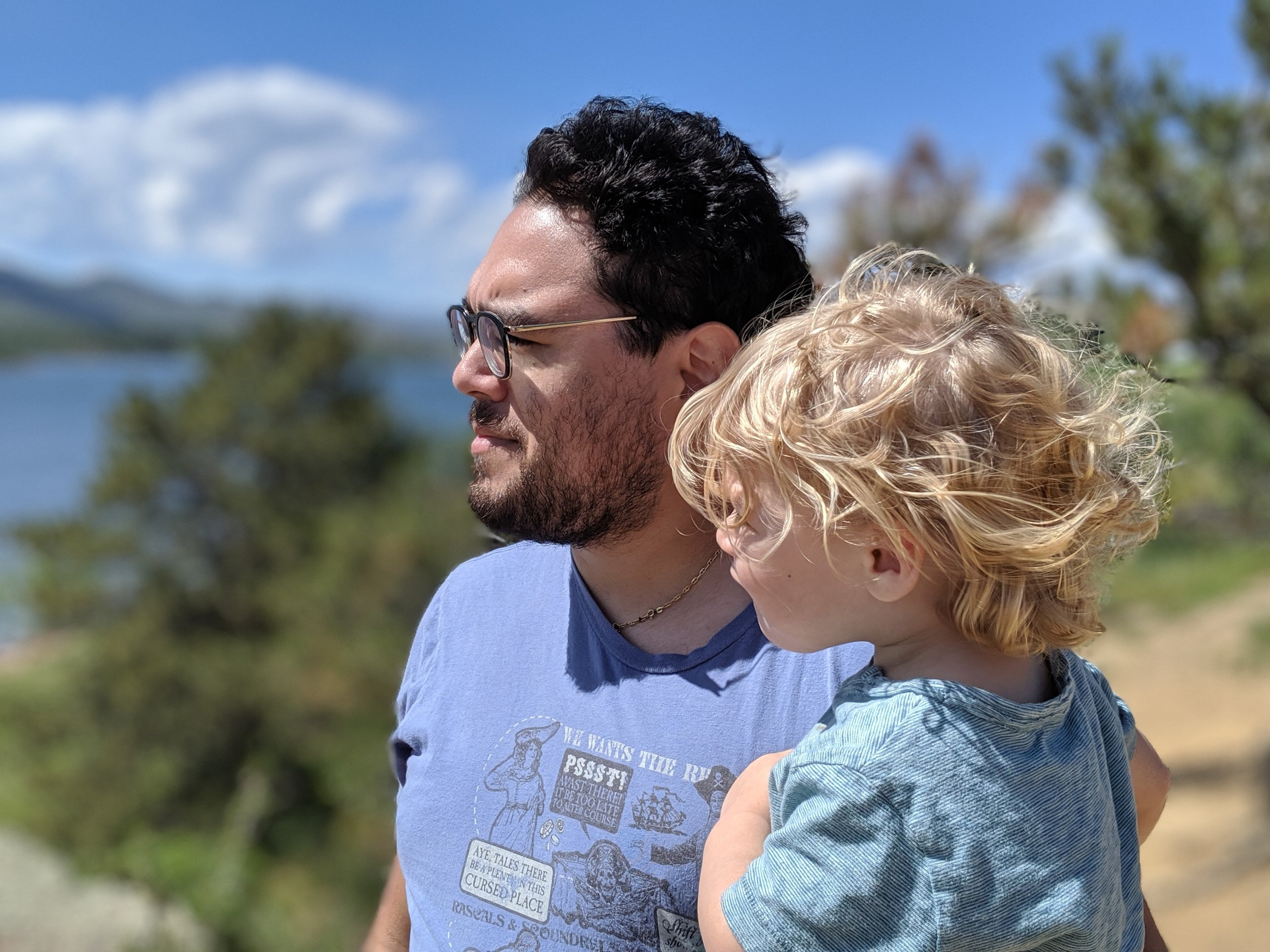 Gus and Ries viewing Horsetooth Reservoir for the first time in Fort Collins, Colorado.