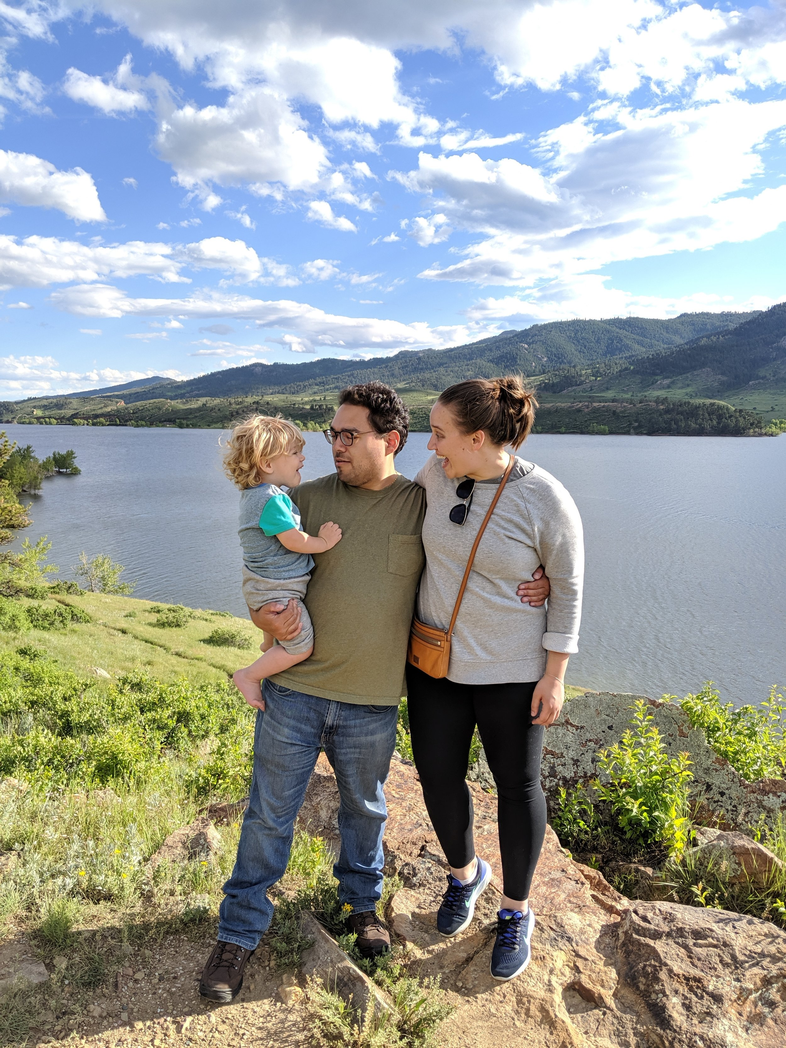 A rare family photo. Horsetooth Reservoir, Fort Collins, Colorado.