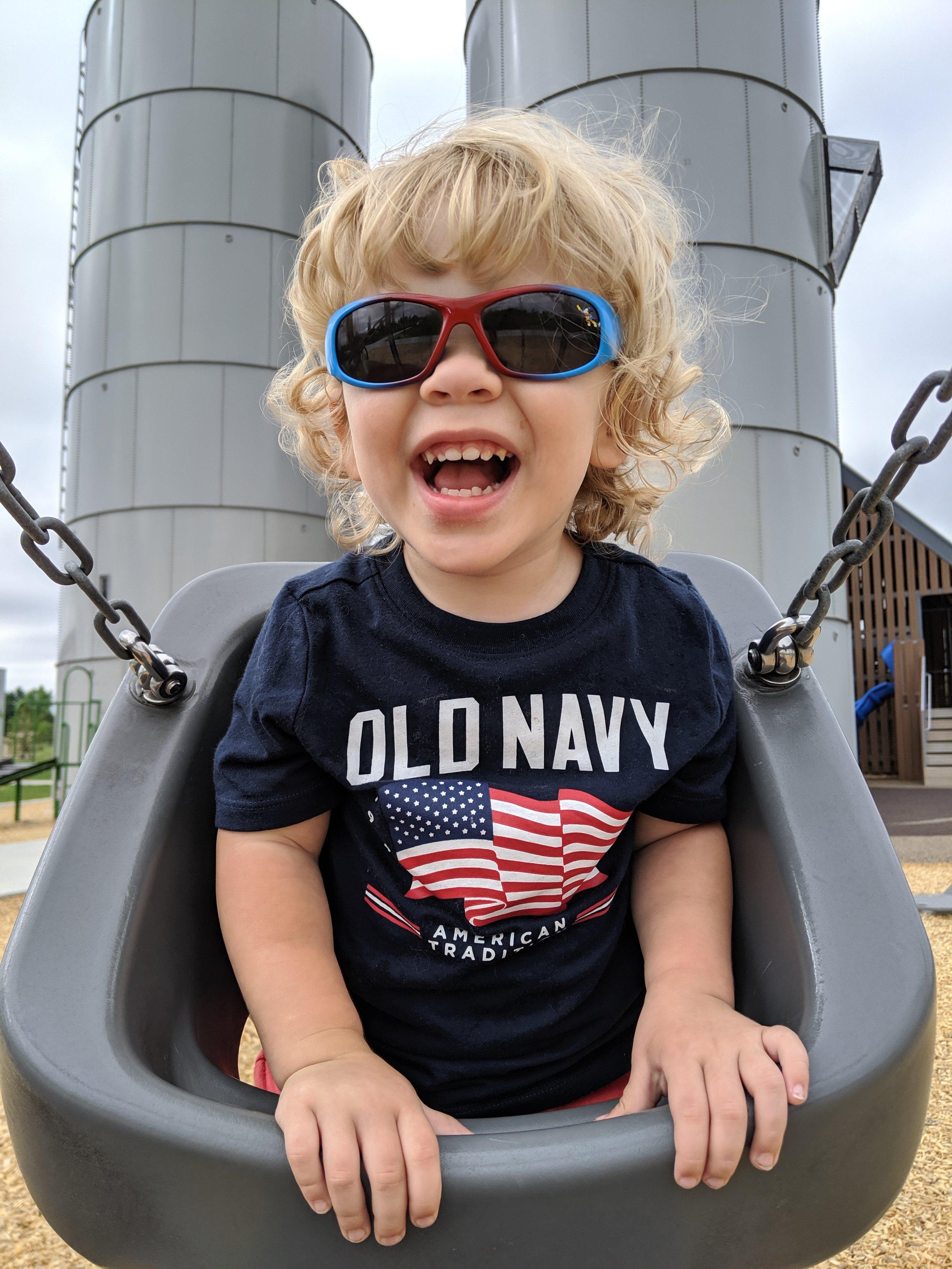 Gus swinging at our favorite park.