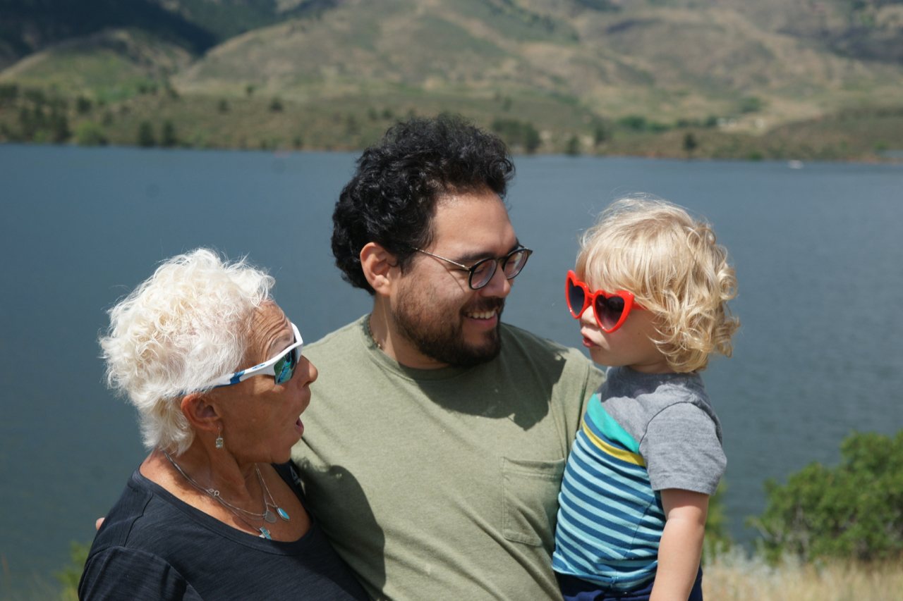 Polli, Ries, and Gus at Horsetooth Reservoir in Fort Collins, Colorado.