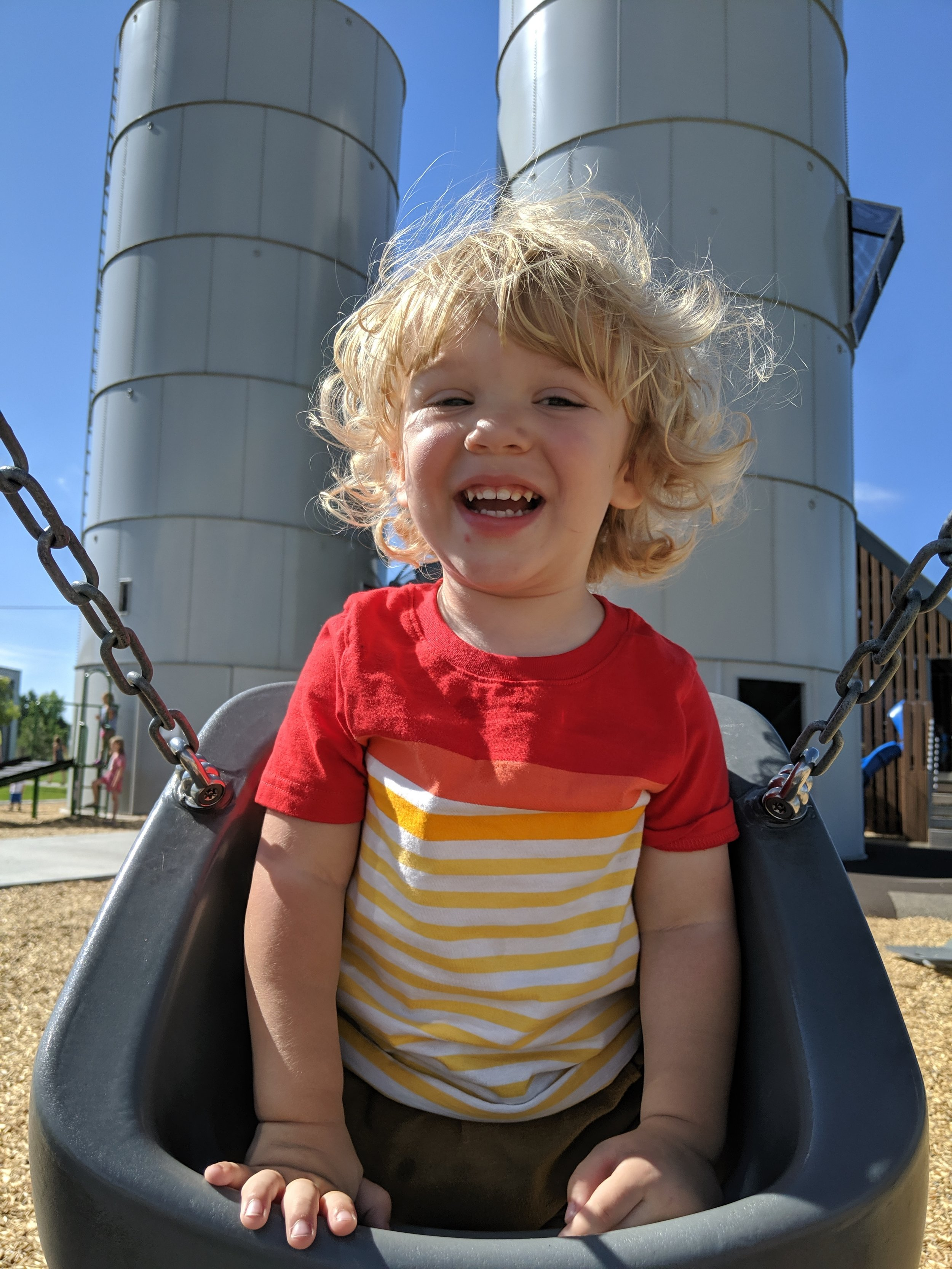 Gus and I enjoying our last swing at Twin Silo park in Fort Collins, Colorado.