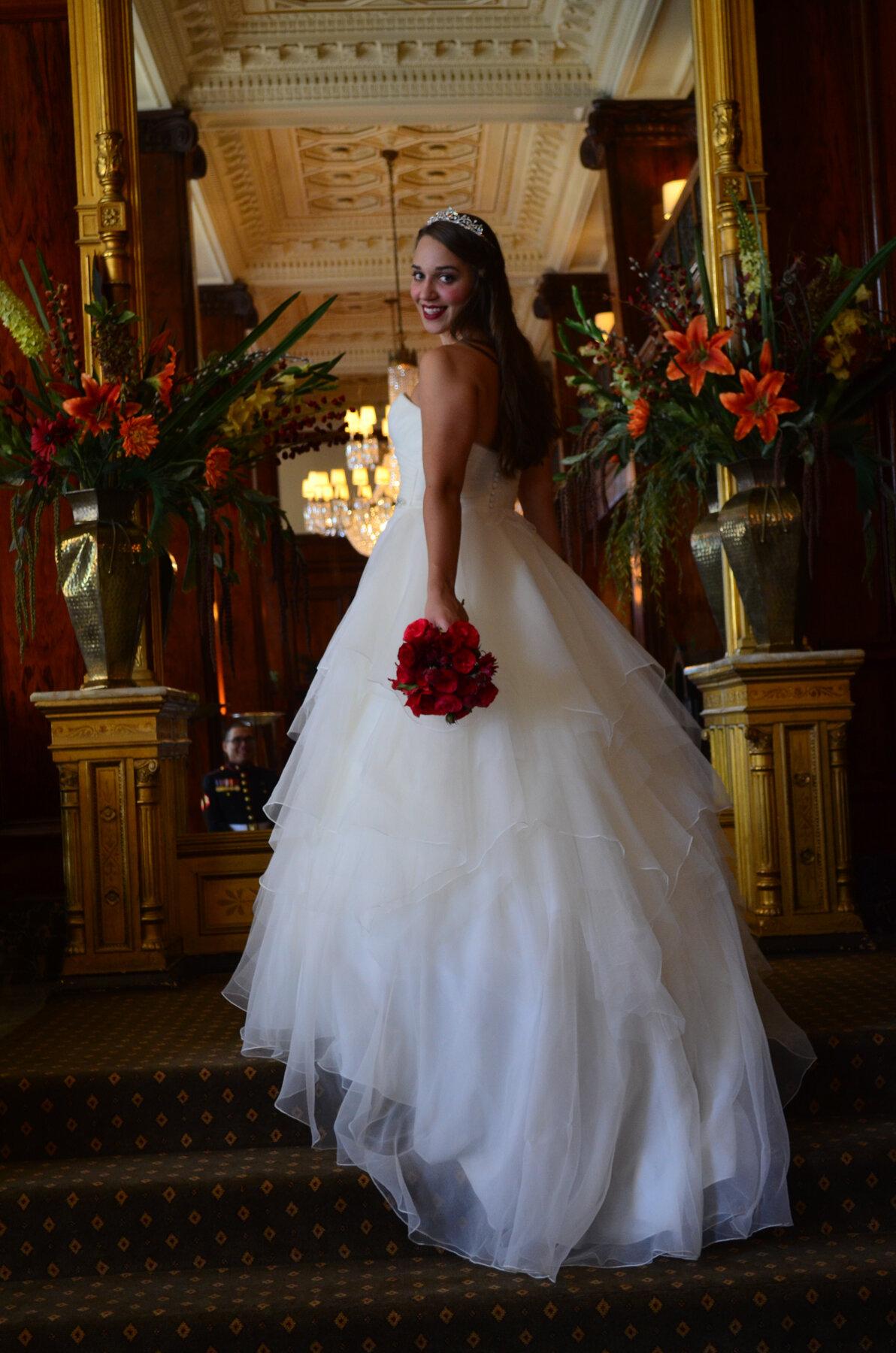 Amanda and Ries' wedding portraits at The Benson Hotel in Portland, Oregon.