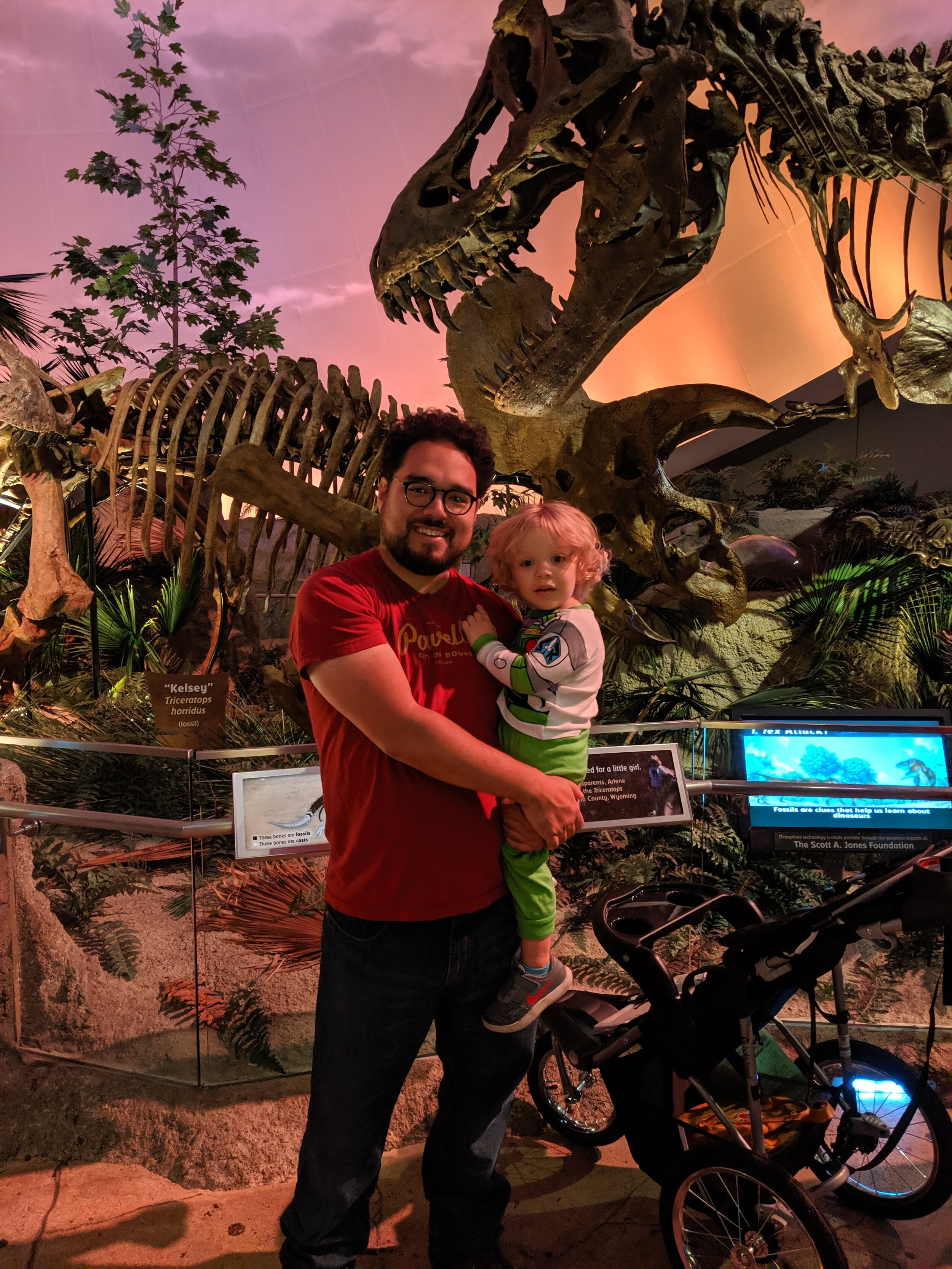 Ries and Gus at the Children's Museum in Indianapolis. Gus thinks he is simultaneous Buzz Lightyear and a T-Rex.