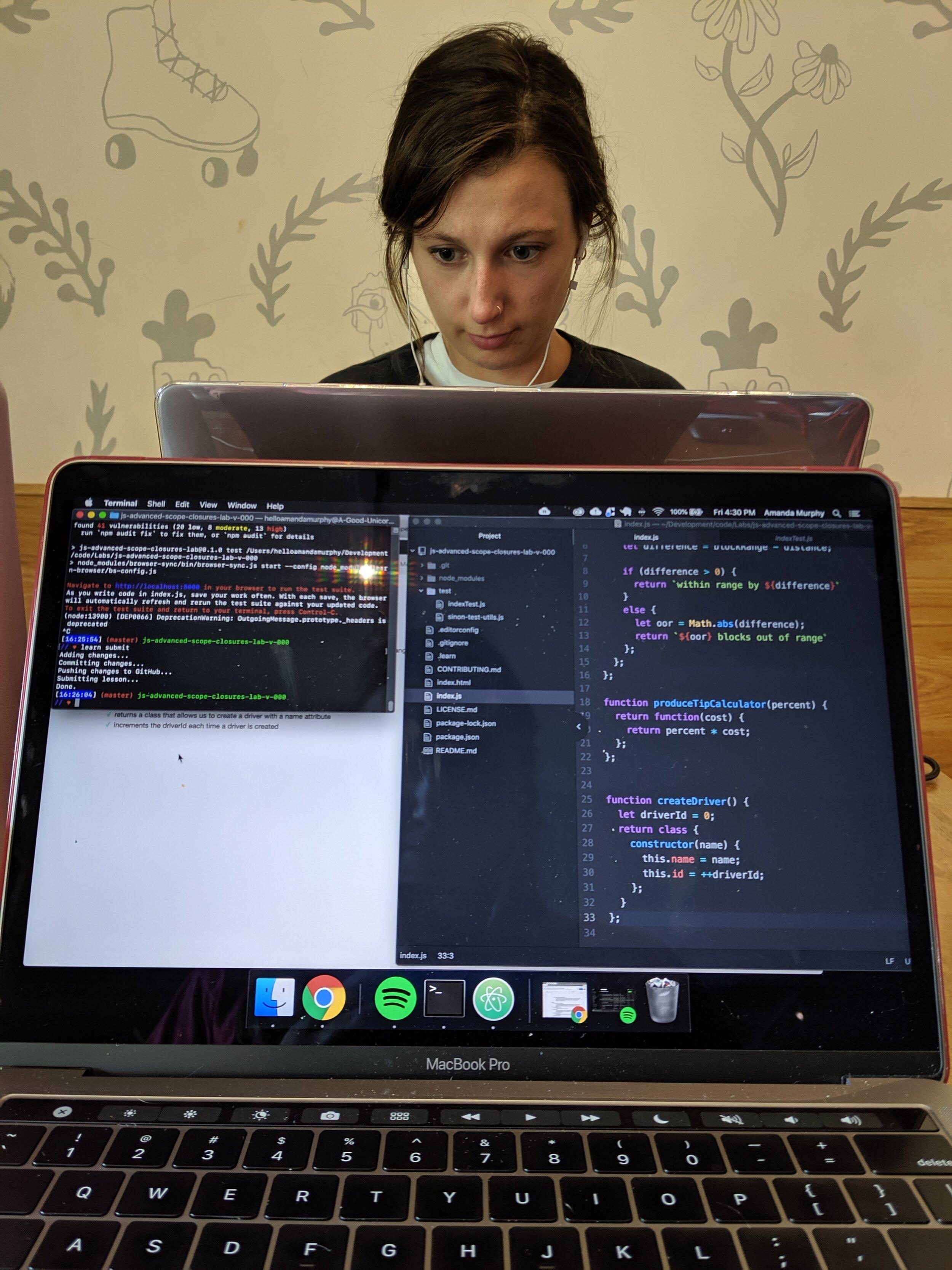 My friend and study buddy, Clara, keeping me company while I learn JavaScript.