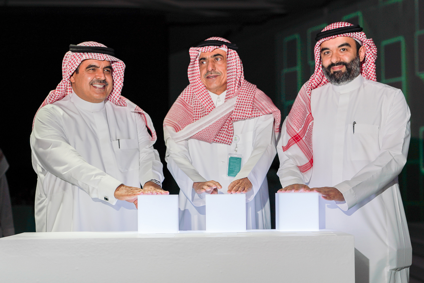 From the right, The Minister of Communications and Information Technology Eng. Abdullah Al-Sawahah. The Minister of Municipal and Rural Affairs, Abdul Latif Al-Sheikh. Advisor At Council of Ministers Saudia Arabia, Fahad Al-Sukait.