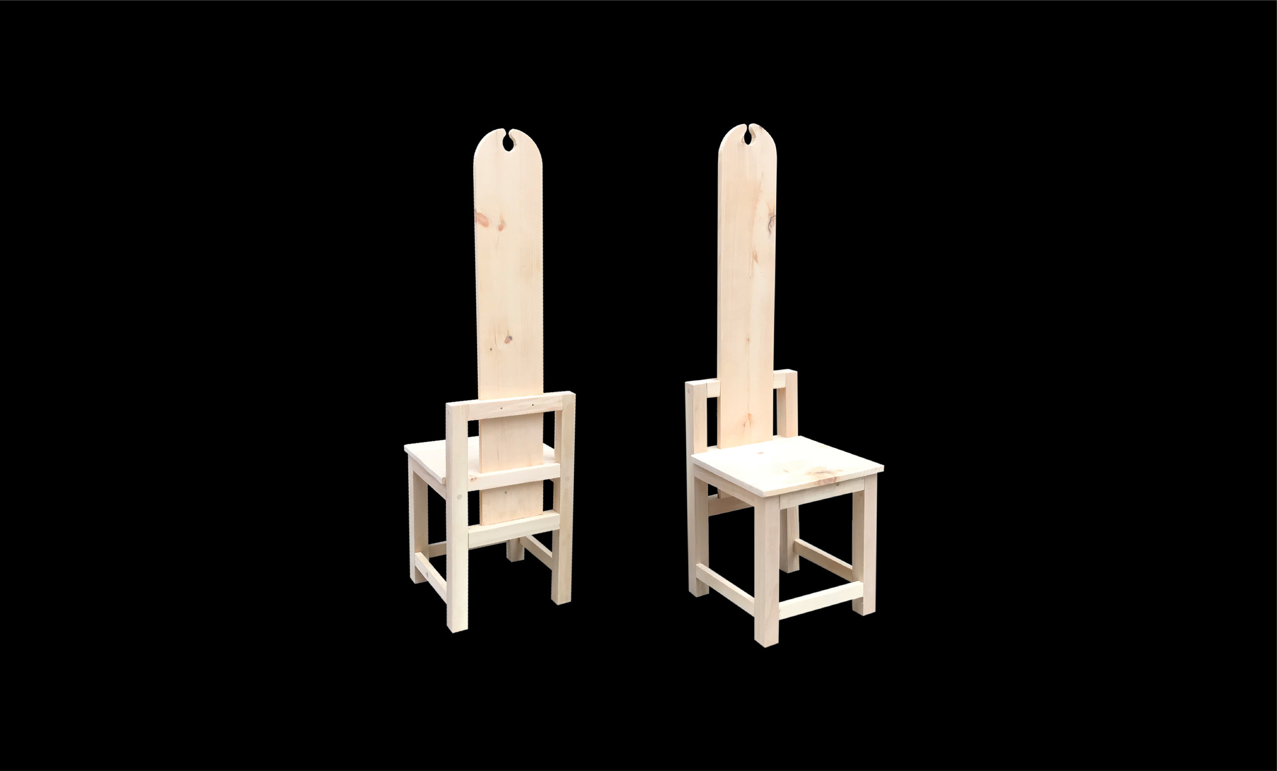 "Nordic Antique Dining Chair Replicas (Set of 2), 20"" x 18"" x 52"", Pine, 2018"