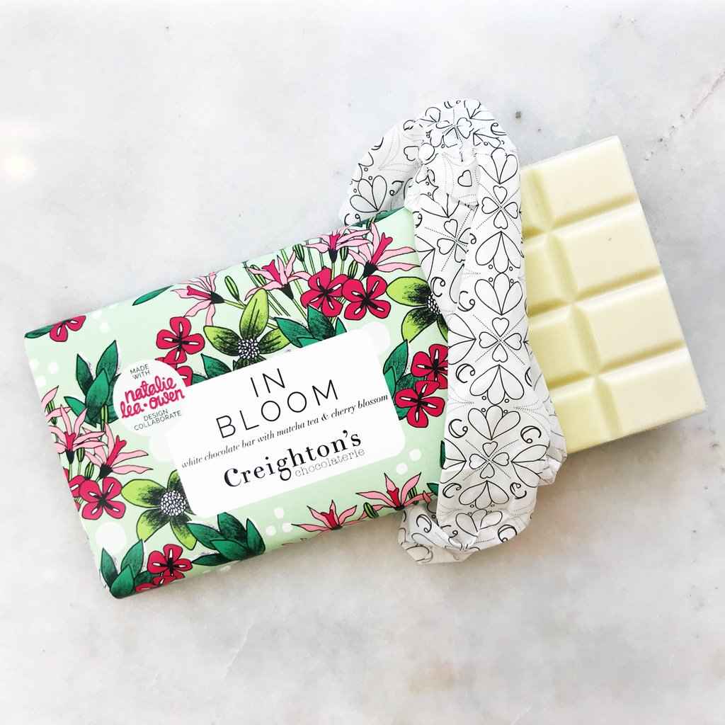 CREIGHTONS CHOCOLATERIE   White chocolate, matcha tea and cherry blossom chocolate bar for Creightons Chocolaterie.