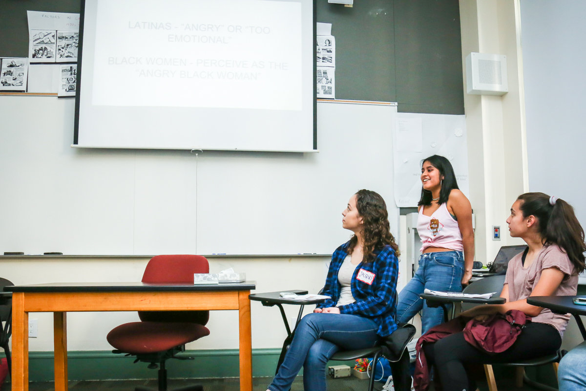 Ariana Martinez '19 leads a workshop on Reaching Careers in Stem: A Guide for WoC