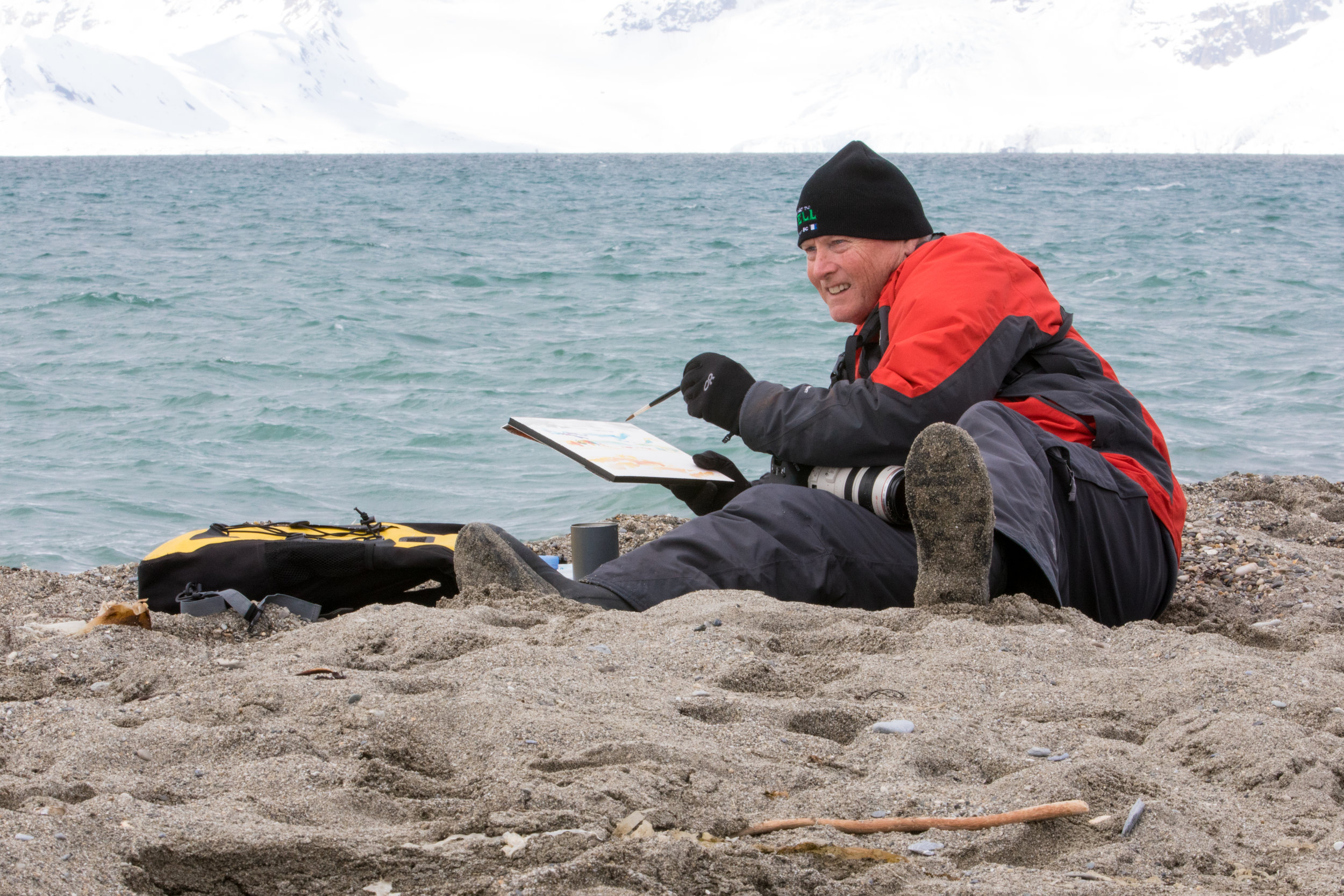 Painting 'Three Walrus' in the Arctic