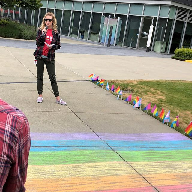 We all deserve the love that makes us happy. 🌈💜 Honored to have had the opportunity to share a few words in support of the LGBTQ+ community at today's Pride rally at work!! #rosecoloredshades #pride #playitproud #loveislove #seattlepride #lgbtq #support #equality #love #all #inclusion #nintendo #thatnintendochick #pridemonth #awareness