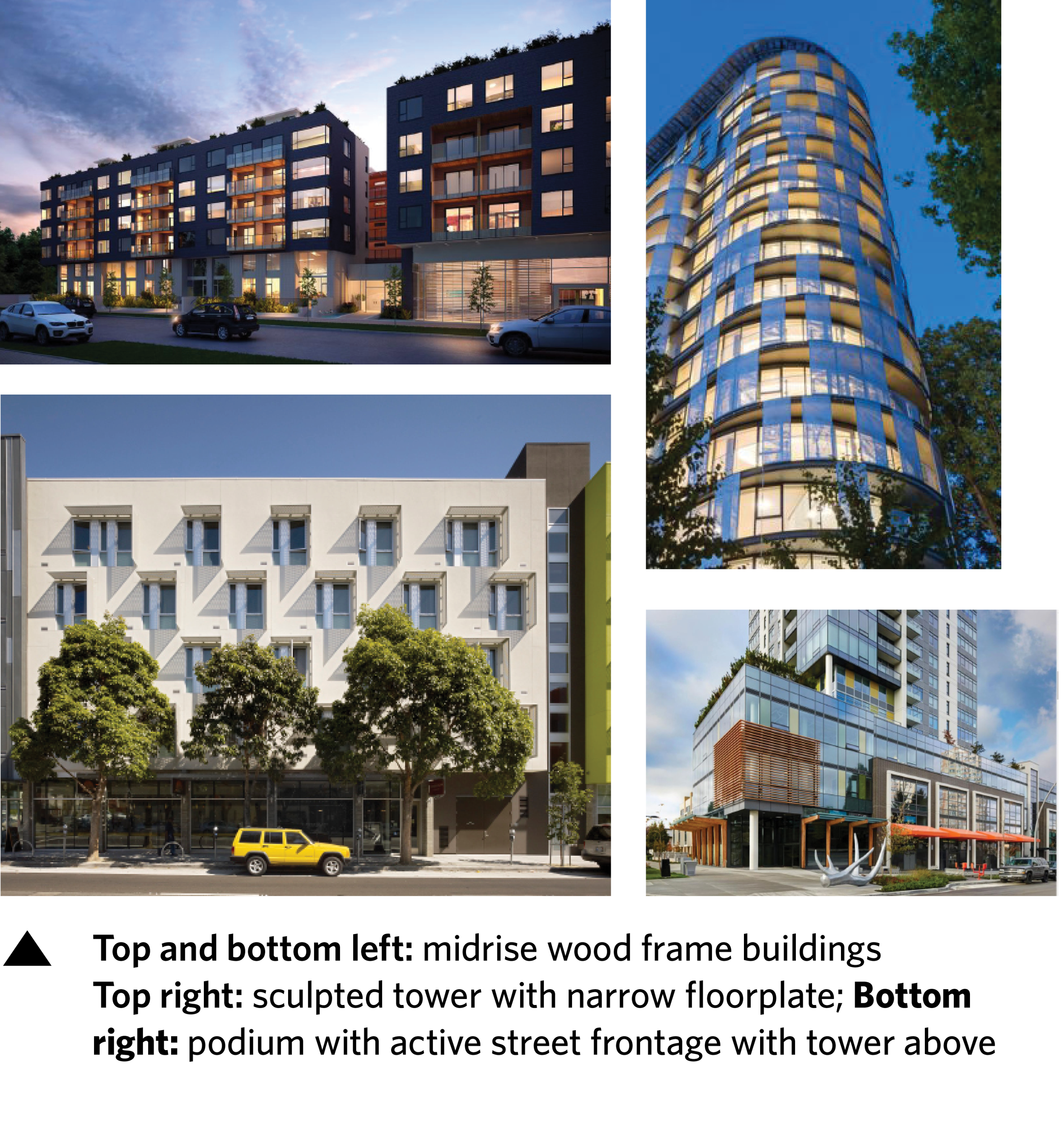 - Why tall buildings?Tall buildings locate density on strategic sites, freeing up more area for midrise, affordable housing and open space. They also optimize value for the leasehold sites to support the Endowment.Why 6-to-8 storey woodframe?Woodframe construction is affordable and sustainable. Current building code allows a maximum of 6 storeys in woodframe construction, however looking to Building Code updates, we can see a future where 8 storeys is safely and efficiently achievable. The goal of the Plan is to be flexible, allowing for possible height variation while maintaining affordability and increasing open space.