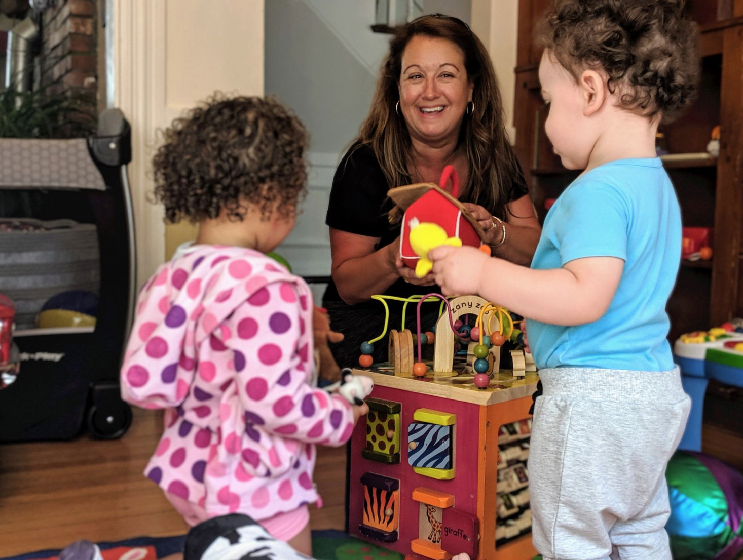 Susan and children at the new ABC Grow With Me Playschool