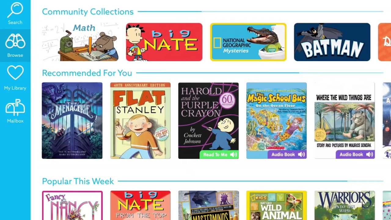 4. Children's books & learning videos with Epic (30-day free trial): Epic's digital library offers unlimited free digital access to 35,000 books. Learn the ABC's with Curious George or listen to the Splat the Cat audio book on repeat! Look out for the books from NeighborSchools' list of best winter books for toddlers .