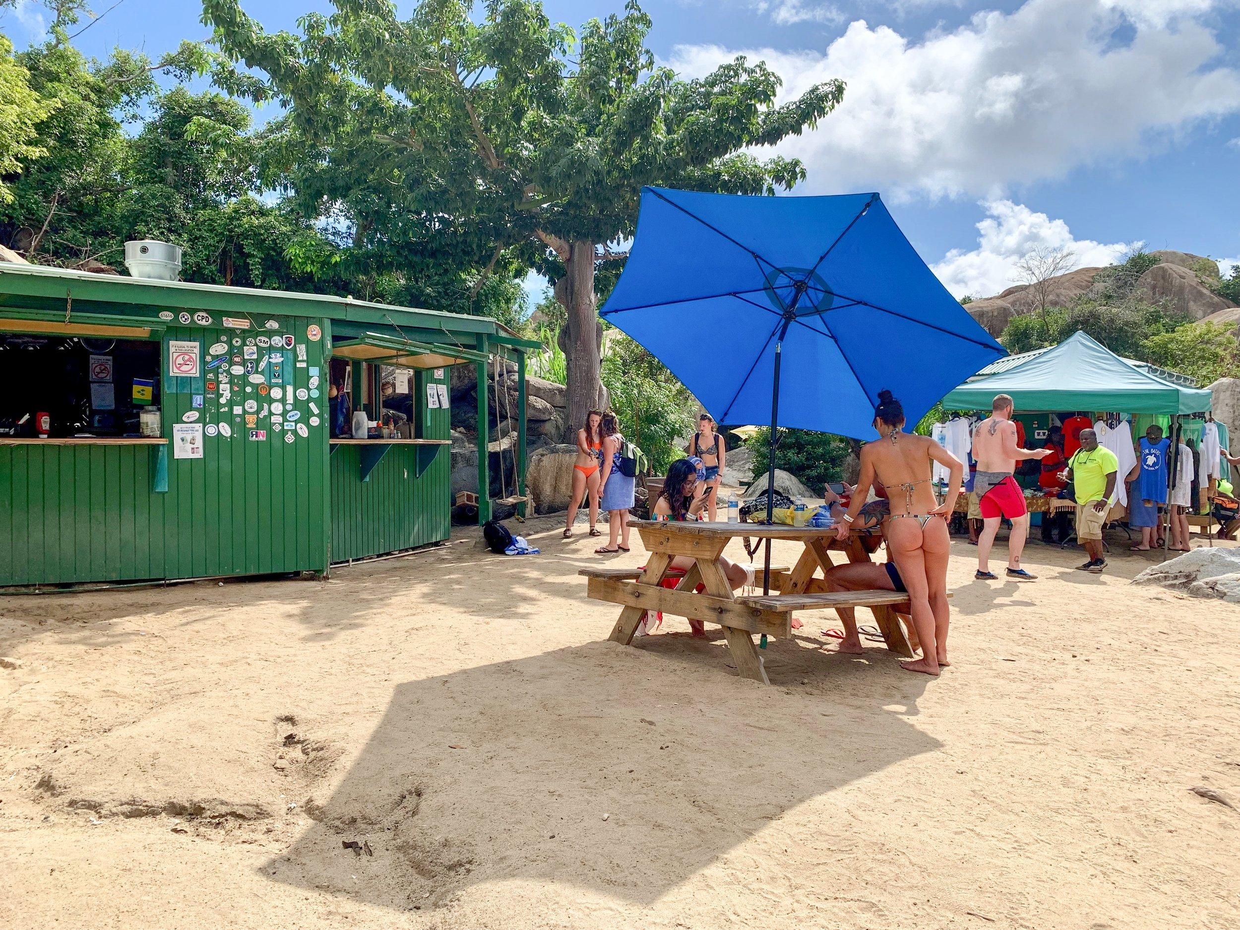 Poor Man's Bar at The Baths. You can have lunch and drinks at the beach.