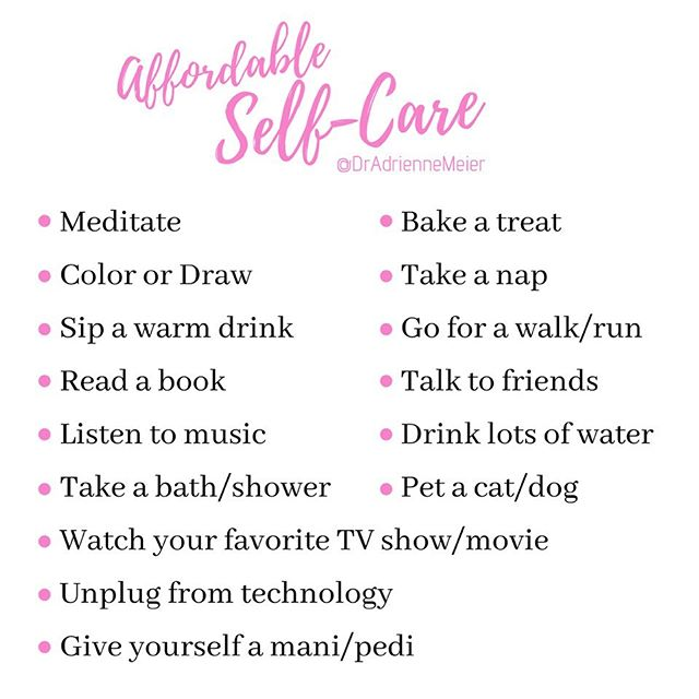 Self-care doesn't have to be expensive! I see so many great posts about self-care on IG but I'm struck by how many of the suggestions assume or require a certain level of privilege to be able to afford or access those activities. It's so important to emphasize that self care doesn't have to be lavish or expensive - it just has to be an activity that recharges you and allows you to rest! . . I compiled this list of activities to help you quickly identify a few self-care activities that don't break the bank (and most are free!). . . Any others you'd recommend? . . #selfcare #selflove #wellness #affordable  #mentalhealth #relax #mentalillness #rest #saturday #takecareofyourself #therapy #therapist #selfcaresaturday #mood #recharge #rejuvenate #self #selfcarethreads #exercise #coloring #pettherapy #selfcaredaily #selfreminder #selfcarelove #selfcarehacks #selfcarematters