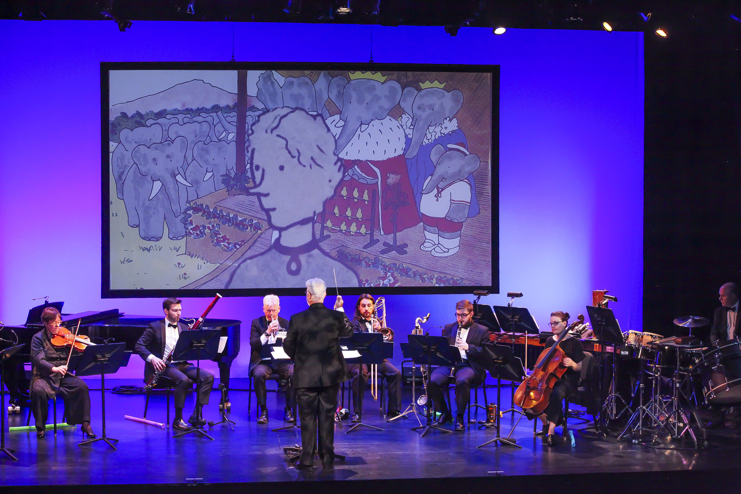 Source Music, Inc.  U.S. Premiere of full new complete Florence Gould Foundation Production with new HD multimedia and the original 8-musician scoring, Florence Gould Hall, French Institute Alliance Française, NYC, November 2018, conducted by Neal Goren. Photo: Amber De Vos