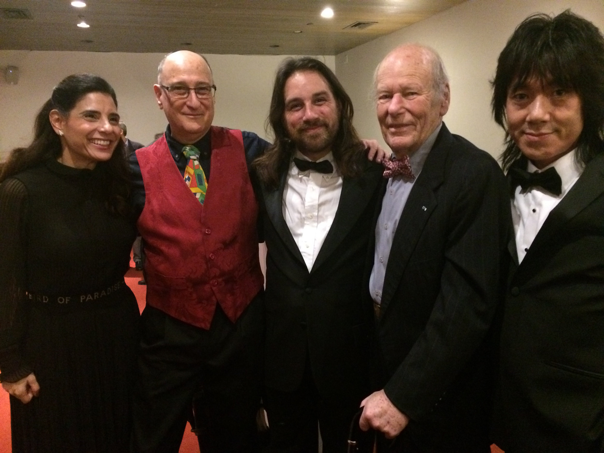 Celebrating after the  Source Music, Inc.  U.S. Premiere of full new complete Florence Gould Foundation Production with new HD multimedia and the original 8-musician scoring, Florence Gould Hall, French Institute Alliance Française, NYC, November 2018  Left to right: Leah Pisar (who narrated), composer Raphael Mostel, William Lang (trombone), Laurent de Brunhoff (eldest son of Jean de Brunhoff), Taka Kigawa (piano)  Photo: Bonnie Stein