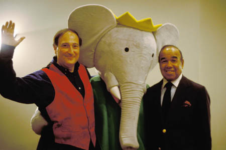 Composer Raphael Mostel, Babar, and narrator Bobby Short after a performance  photo: Carol Crumb