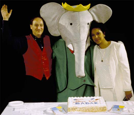 Composer Raphael Mostel, Babar and narrator Phylicia Rashad, celebrating 70th anniversary of the creation of Jean de Brunhoff's Babar  Photo: Carol Crumb