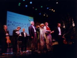 Eli Wallach, Anne Jackson, Raphael Mostel, conductor Paul Hostetter, with musicians l-r Aurora Manuel, Martin Kuuskman, Thomas Hoyt  photo: Berenice Cohen