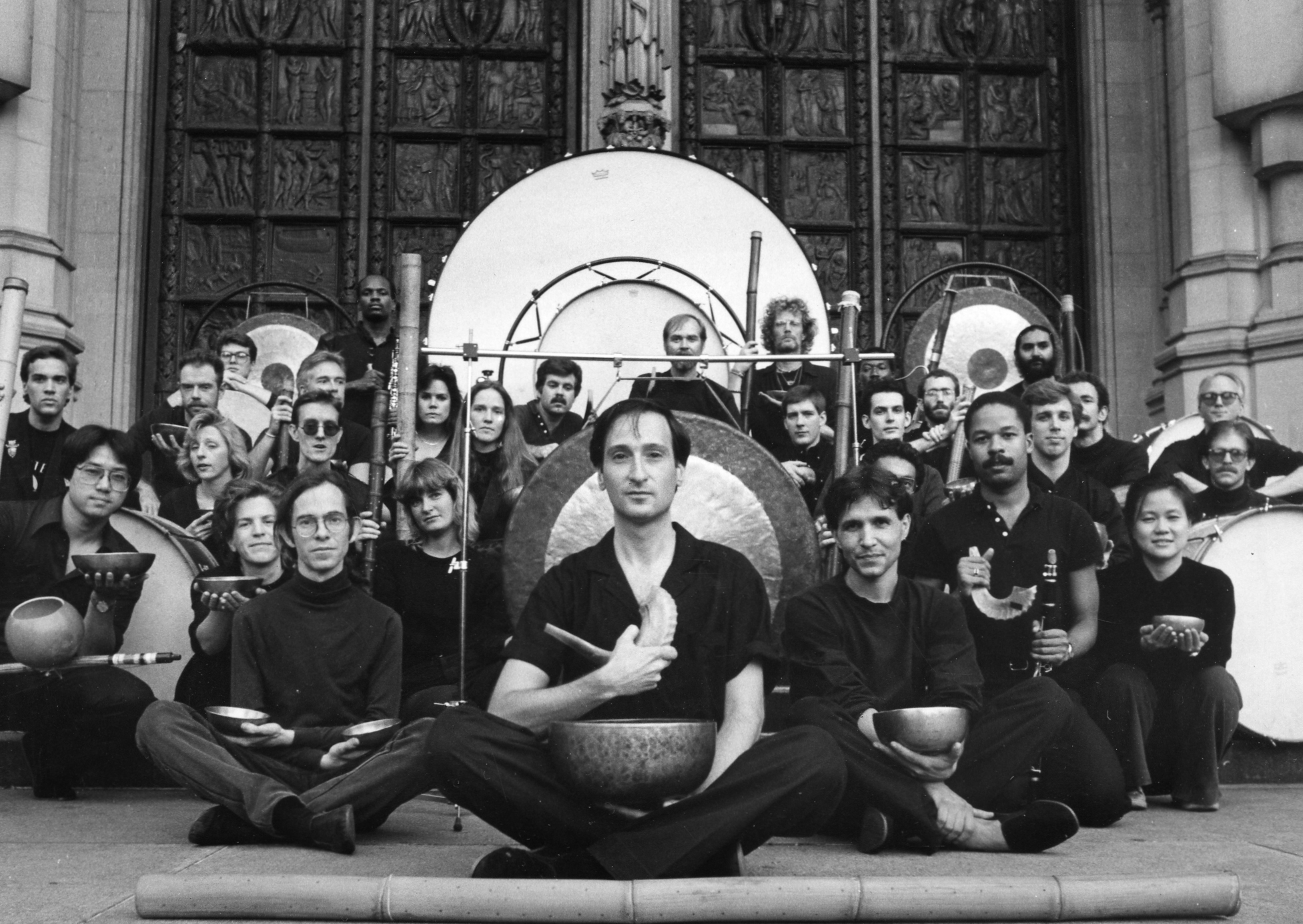 Ceremonial for the Equinox, an acoustic music ritual , a concert-length work composed and directed by Raphael Mostel (center), commissioned by the Cathedral of St John the Divine, NYC, 1985  photo: Michael Sullivan