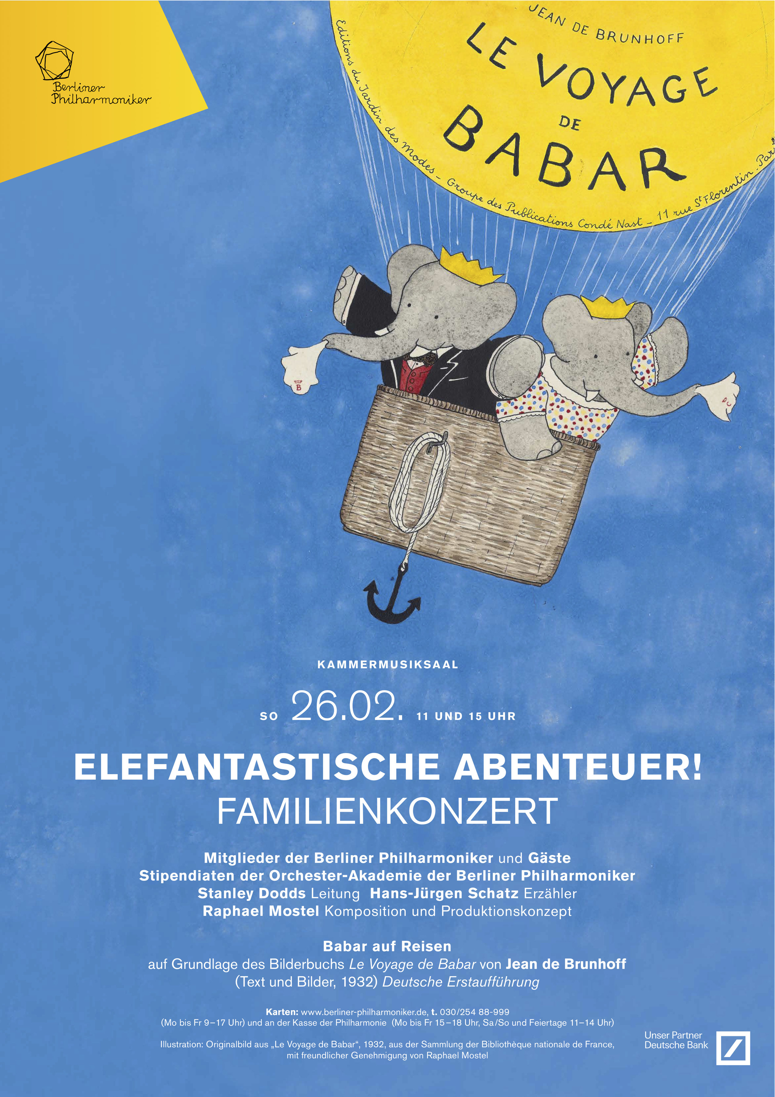 Poster for Berliner Philharmoniker premiere performances, with original Jean de Brunhoff watercolor from the Bibliothèque nationale de France, used with permission. The Berliner Philharmoniker presented the complete  Travels of Babar , in the original 8-musician scoring in the full production (adapted for the in-the-round architecture of the Berlin Philharmonie, with the world premiere of the complete multimedia in HD