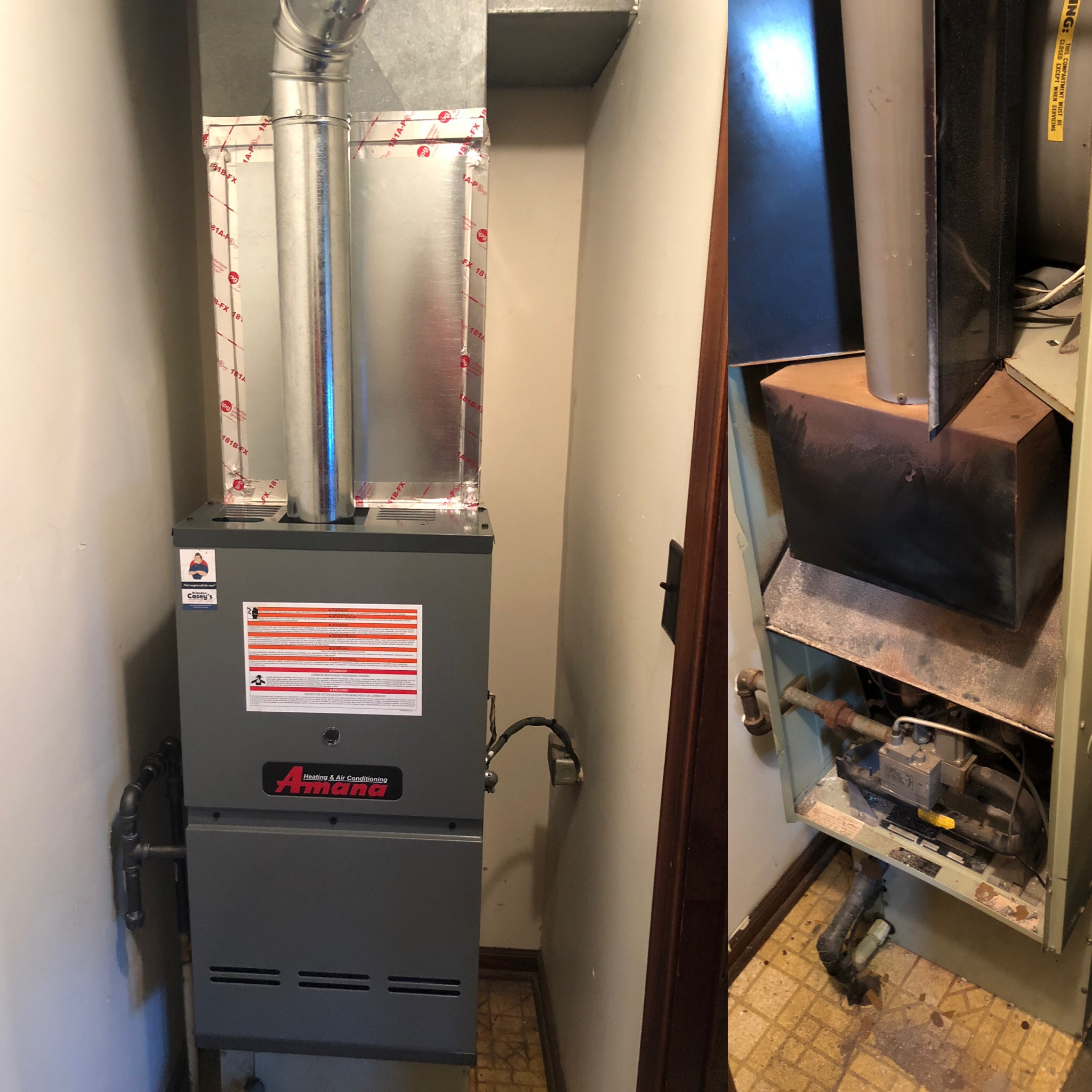 Before/After New Amana Furnace Installation October 2018