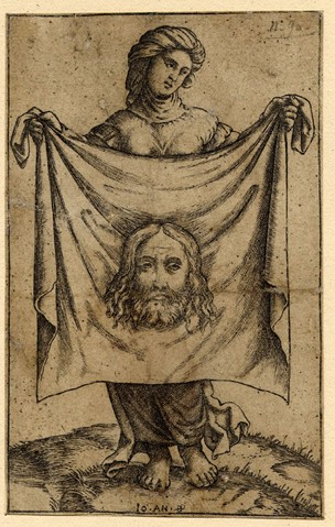 St Veronica standing, holding the veil in front of her; a reversed copy after Marcantonio Engraving.  Photo courtesy of the British Museum 1869,0410.13, AN37921001