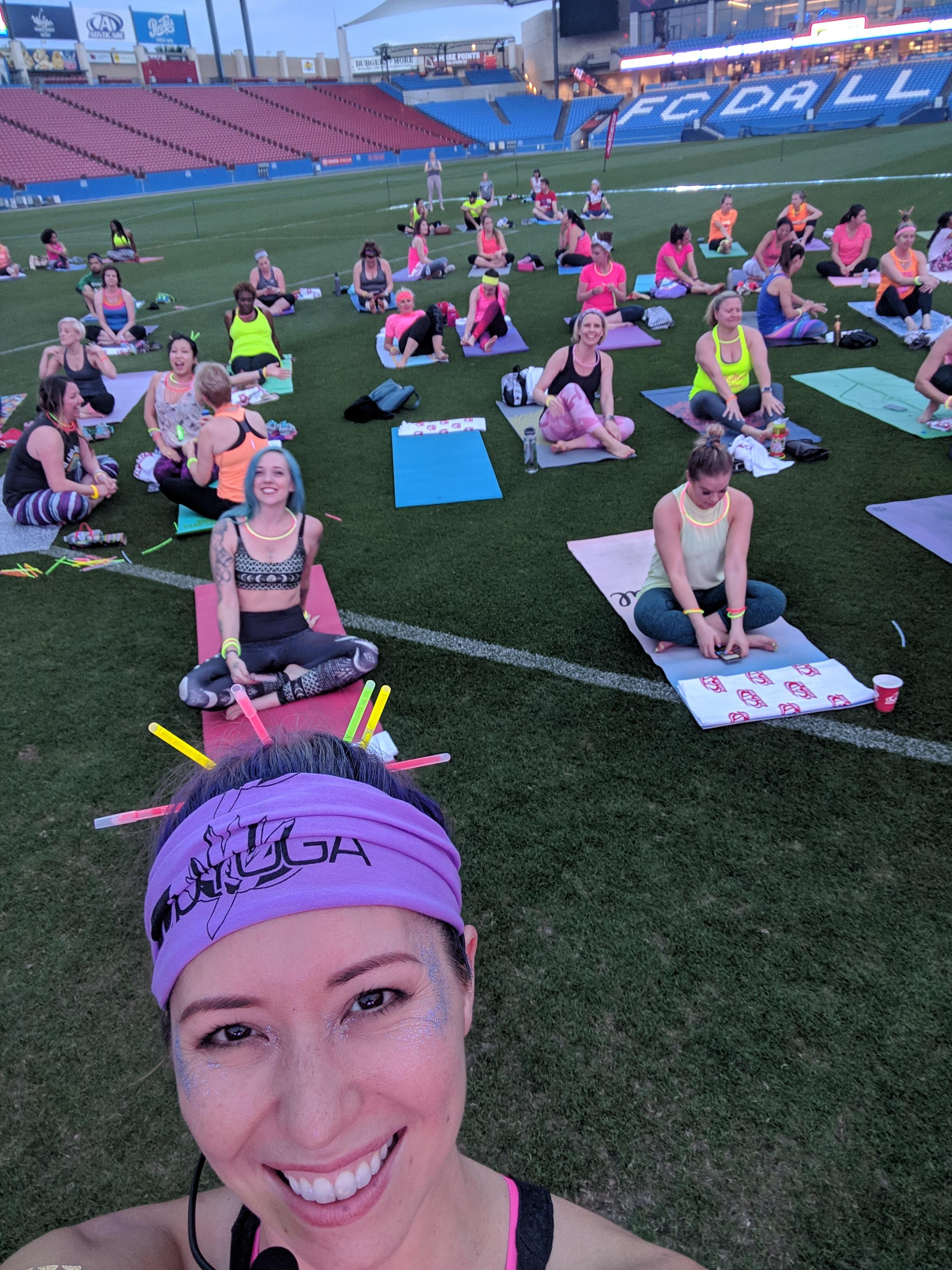 Glow Yoga on the Pitch at Toyota Stadium