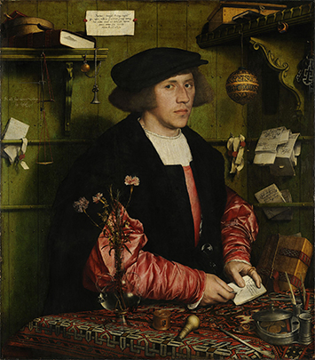 "Georg Giese, OG Steelyard Merchant...""Oh, Hello! You caught me on a completely normal business day just opening a letter from my super-rich fiancée. BTW my sleeves cost more than you make in a year, also please cast your gaze upon all of my high-tech instruments casually scattered aboudst my richly-appointed tabletop..."" A Holbein portrait comprised the ultimate 16th Century (not-so)-humble-brag."