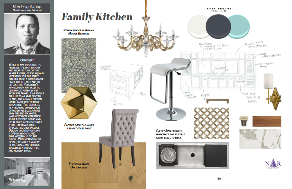 Featuring: Viz Glass chandelier, Currey & Co. sconce, Sunpan dining chair, VIG stool, Garrison wood flooring, The Galley sink, Porcelanosa tile, William Morris fabric, Benjamin Moore Paint etc.