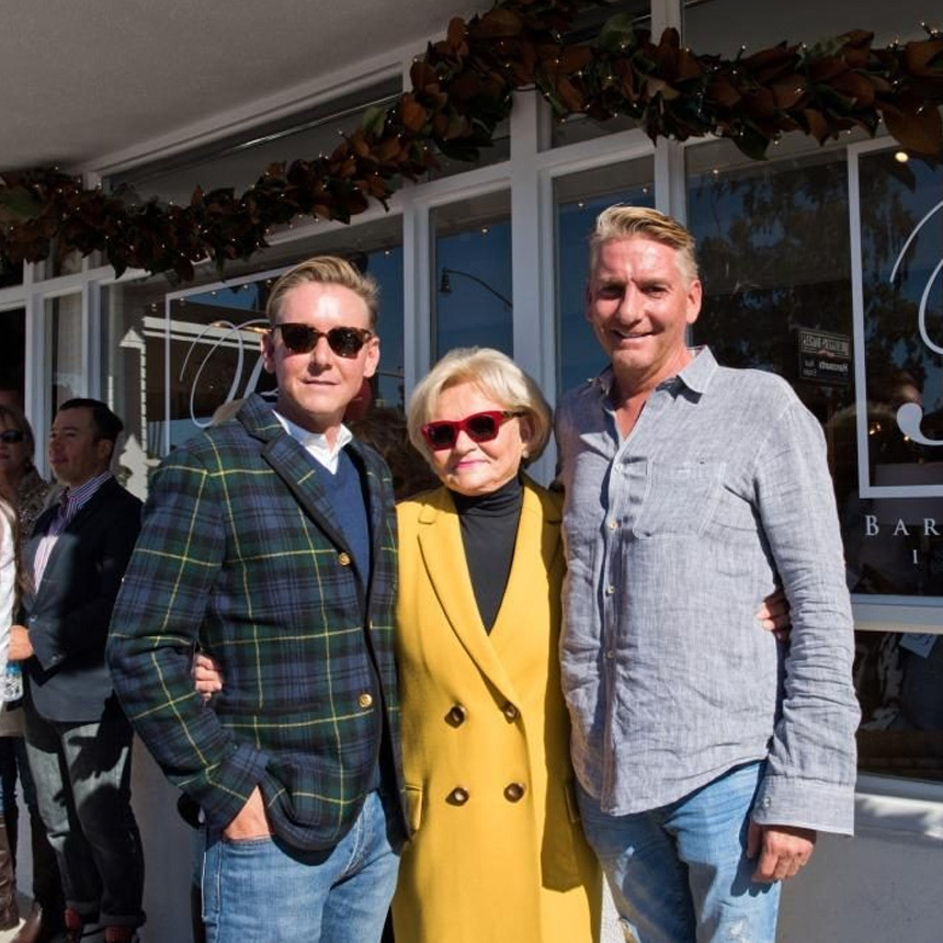 (Barclay, left, Karen and brother Brendan at the opening of Barclay's Corona Del Mar showroom)