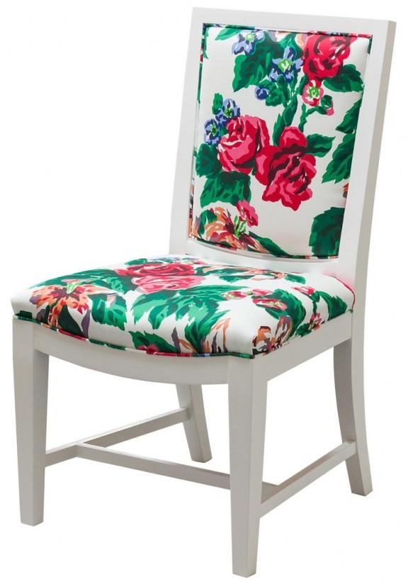 KINDEL GRAND RAPIDS Dorothy Draper Collection Floral Back Side Chair