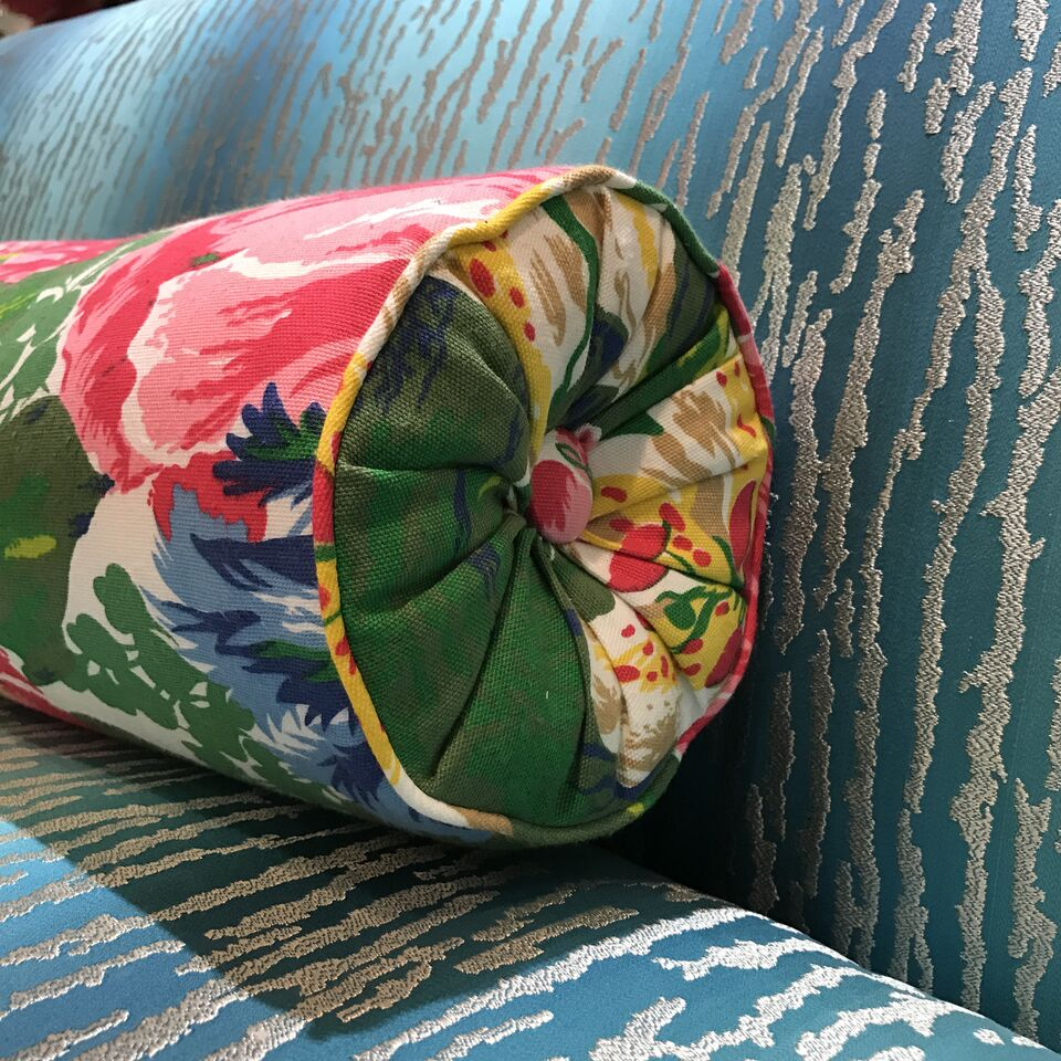 Two Dorothy Draper & Co. fabrics: Shannon Grove Floral and Pacific.