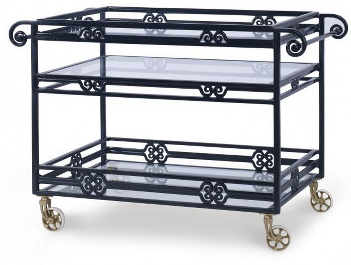 Augustine Metal Bar Cart with Tempered Glass  by Century Furniture