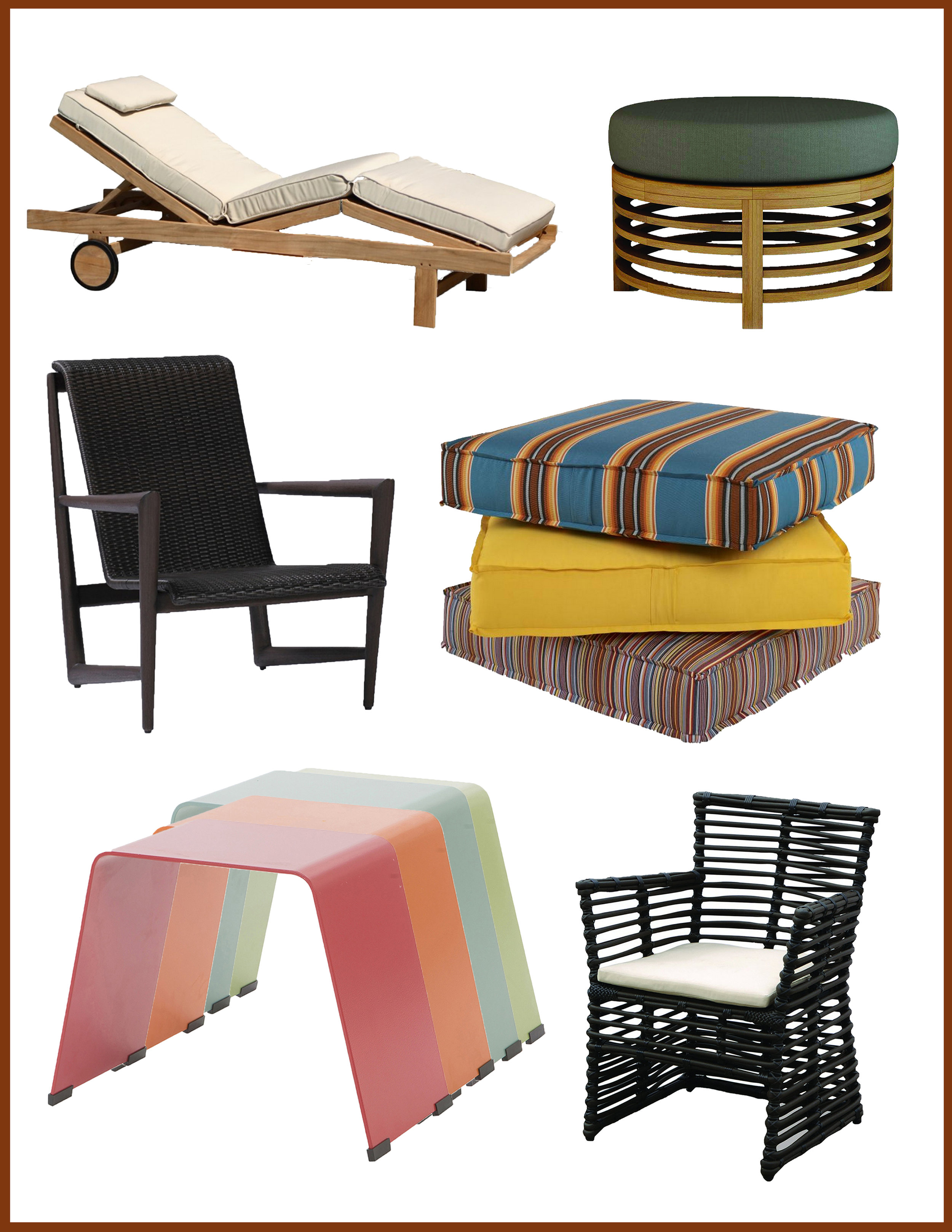 Top Row :  Three Birds Casual Quincy Lounger  &  Seasonal Living Spirals Teak Round Ottoman   Center Row :  Summer Classics Wind Patio Chair  &  Century Furniture Outdoor Floor Pillow   Bottom Row :  Ebel Monaco Side Tables  &  Sunset West Venice Dining Chair
